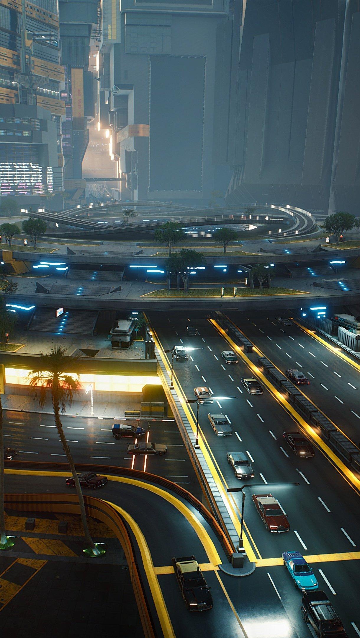 Wallpaper Cyberpunk 2077 Highway Vertical