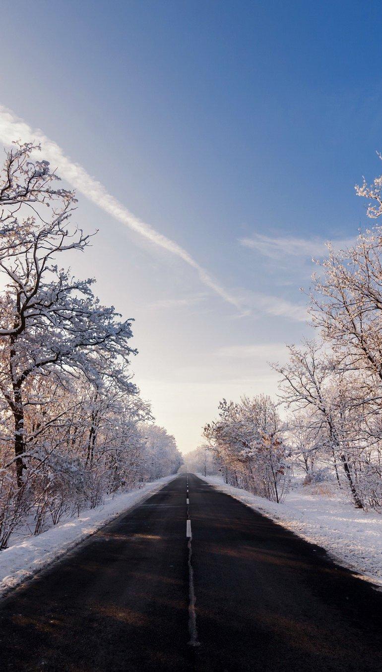 Fondos de pantalla Carretera en otoño invierno Vertical