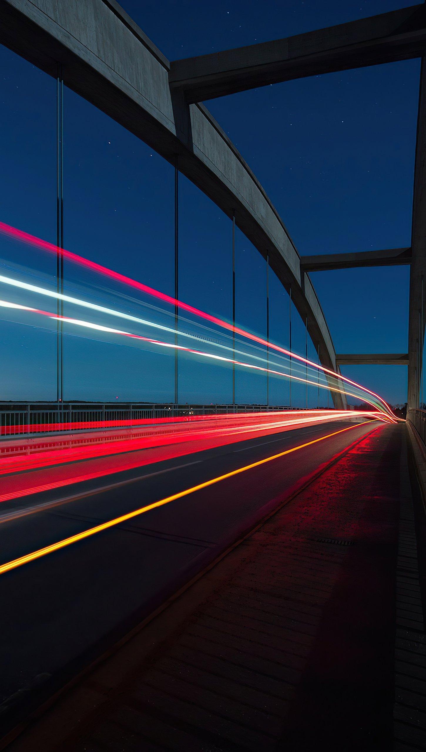 Wallpaper Highway Road Long Exposure Vertical