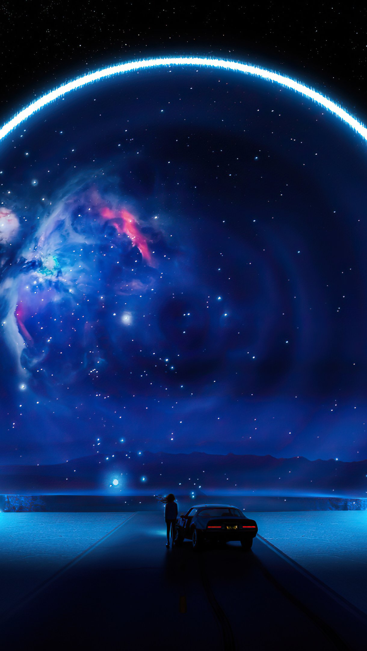 Fondos de pantalla Carretra con Aro de universo azul Vertical