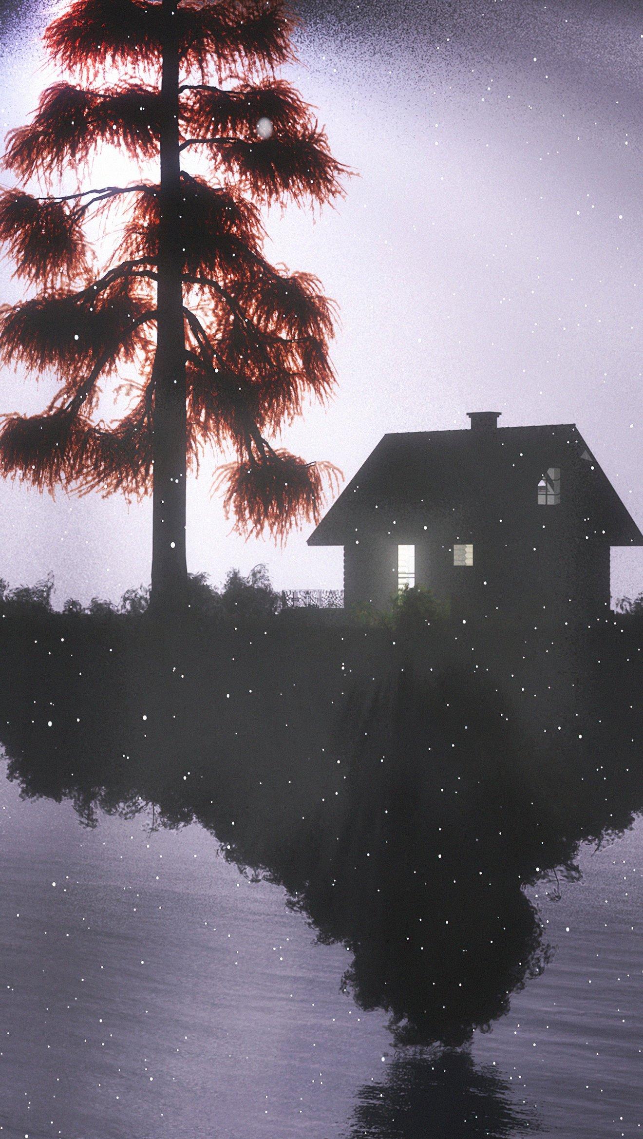 Fondos de pantalla Casa entre la luz y la oscuridad Vertical