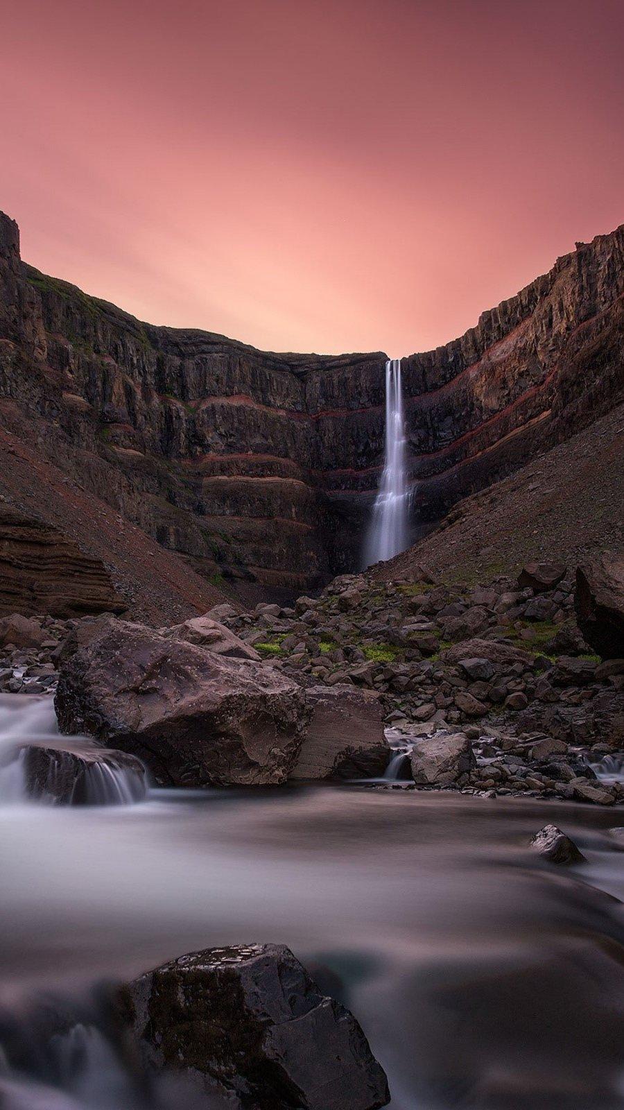 Wallpaper Hengifoss waterfall in Iceland Vertical