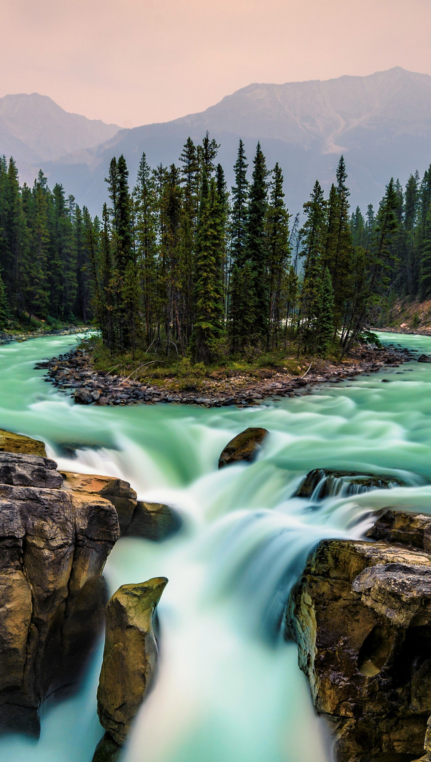 Wallpaper Waterfall Jasper National Park Canada Vertical