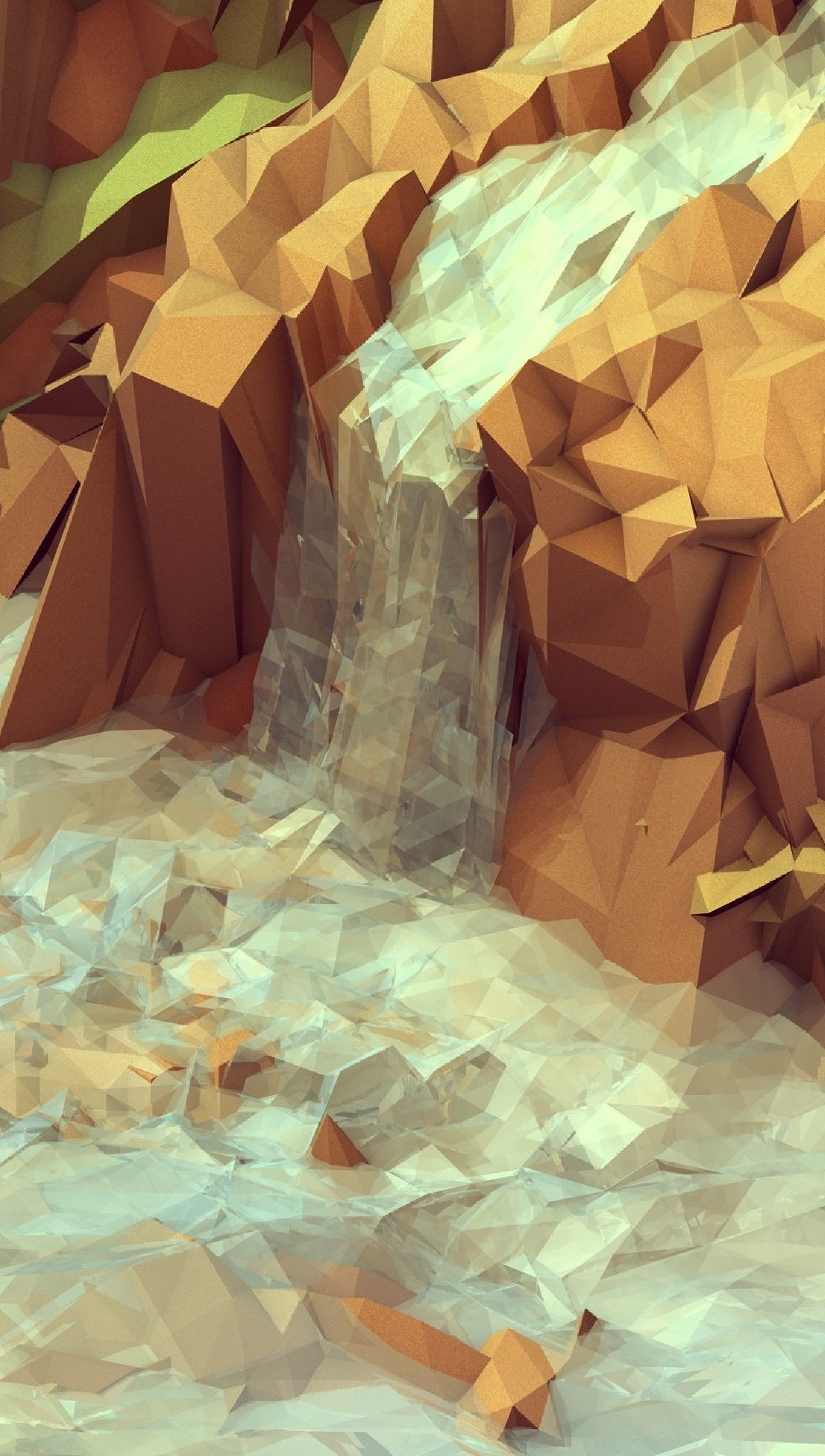 Wallpaper Polygonal waterfall Vertical