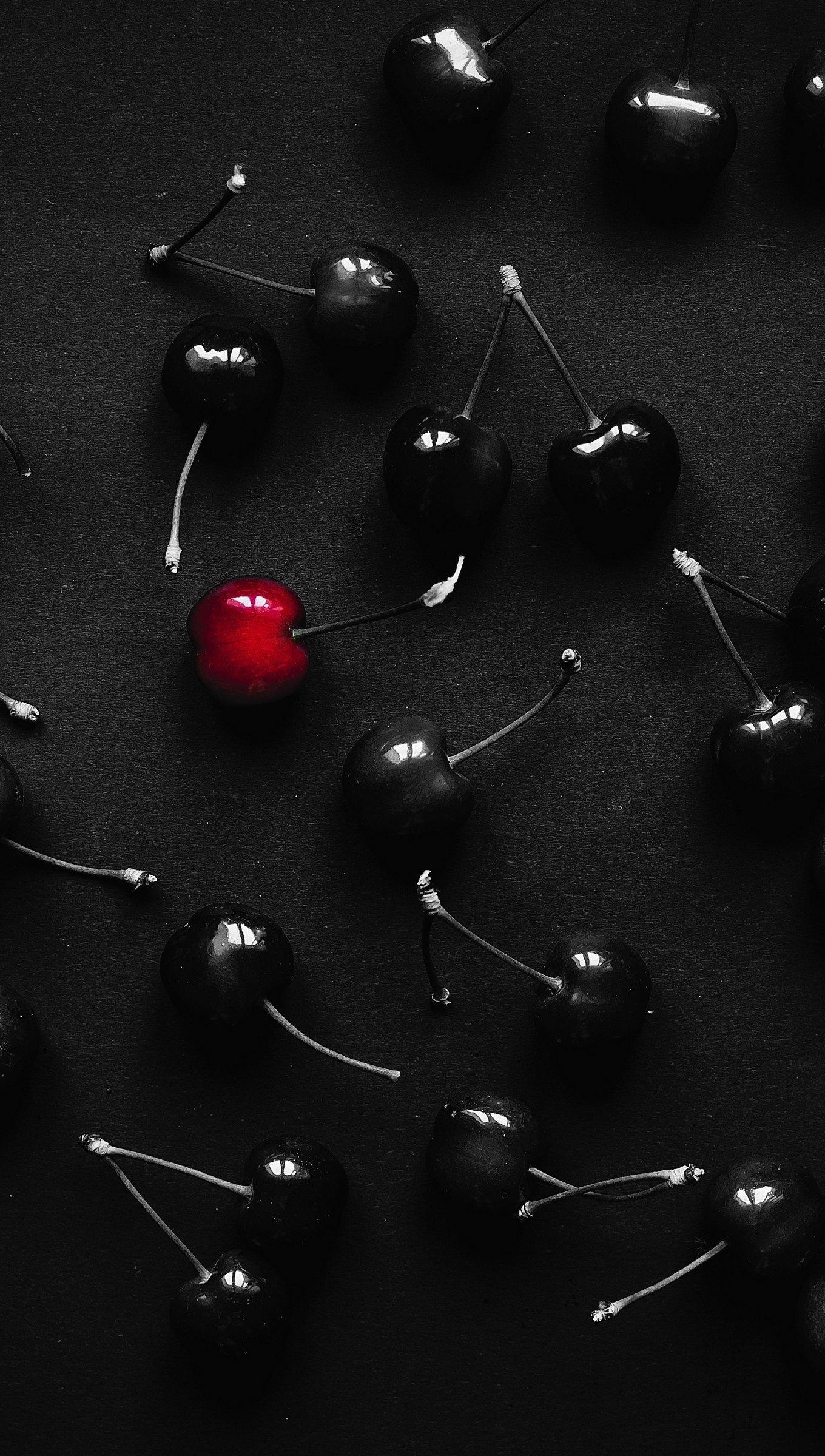 Wallpaper Black cherries and red cherry Vertical