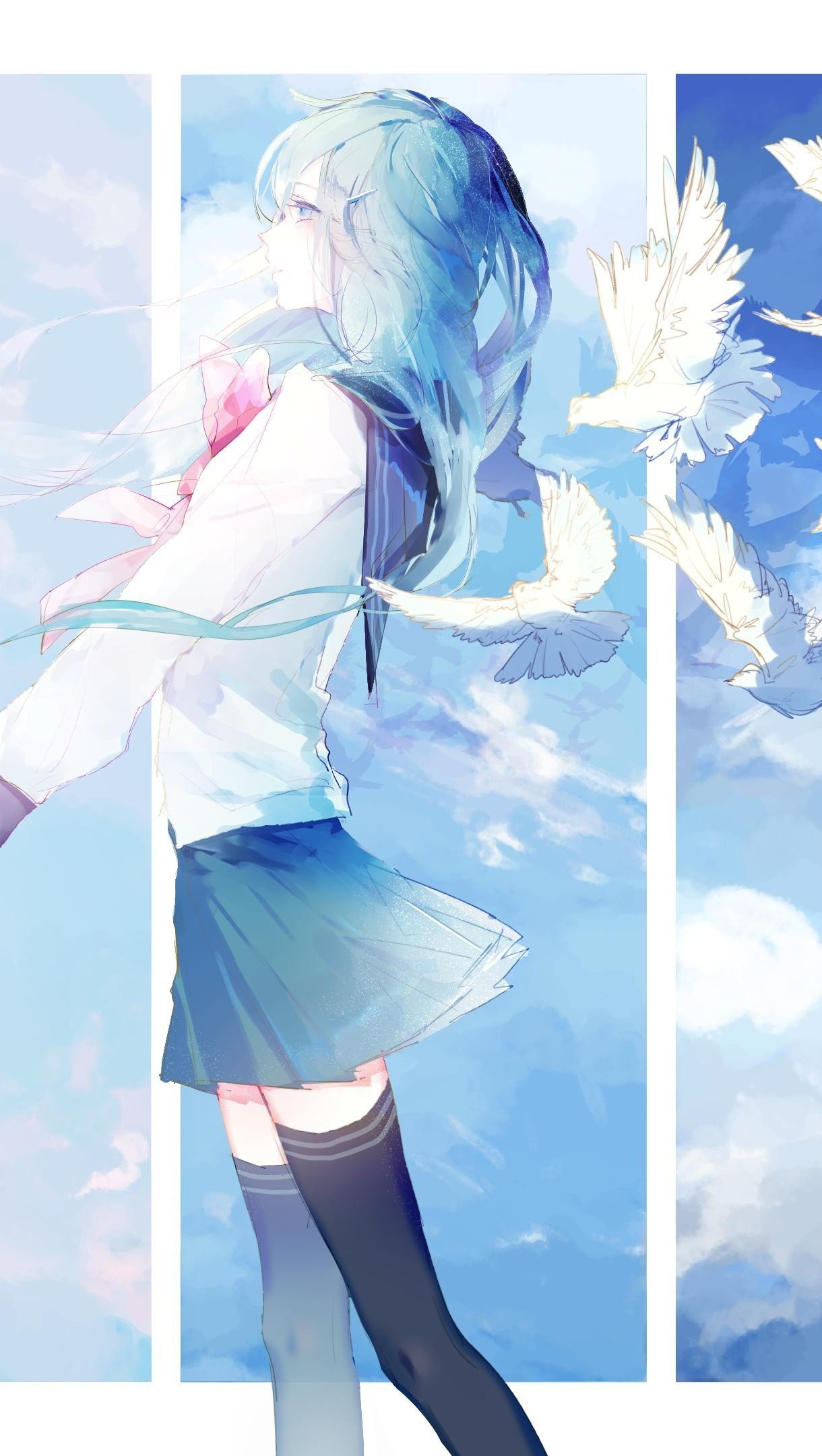 Wallpaper Anime girl with pigeons Vertical
