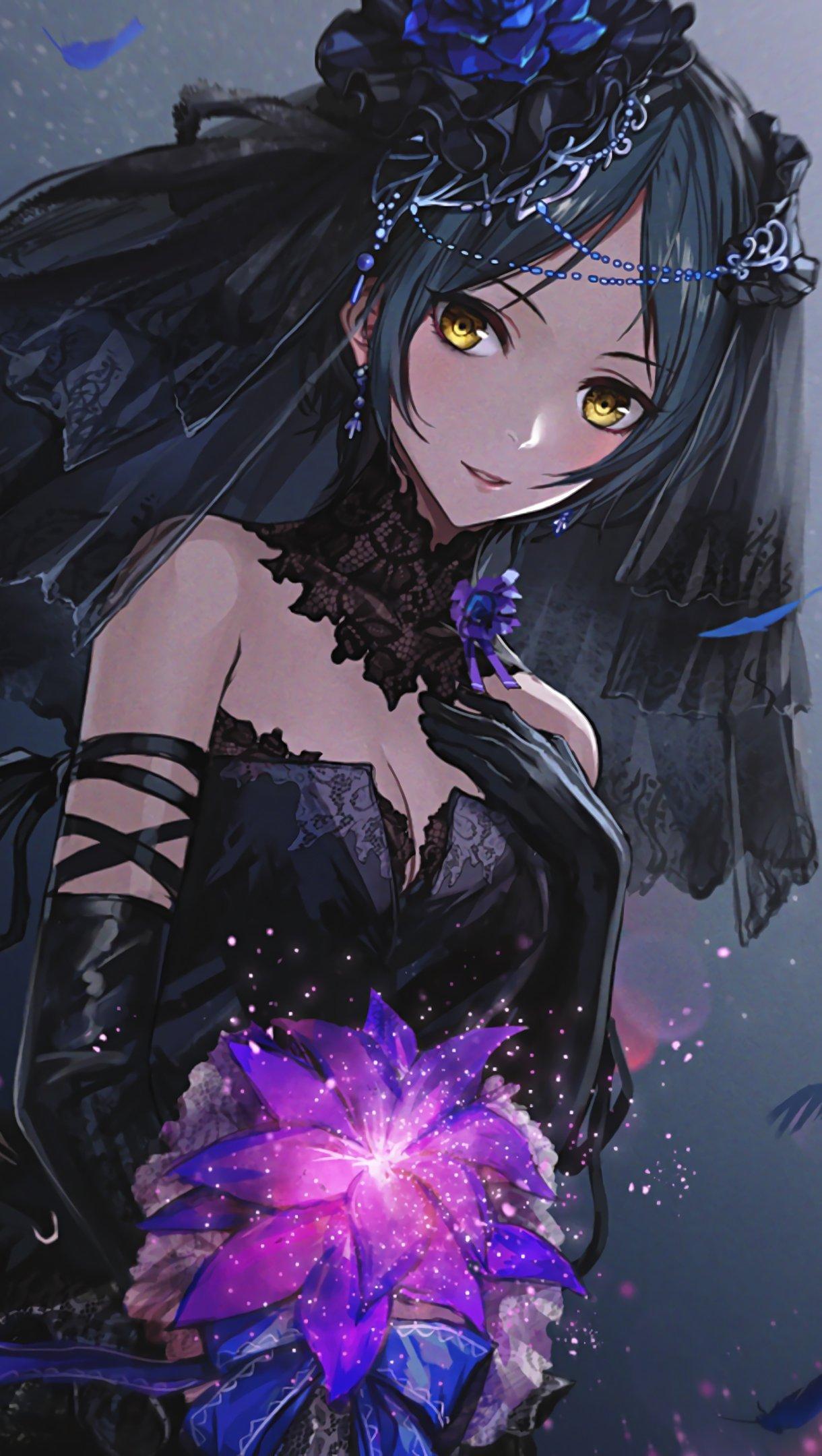 Wallpaper Anime girl with black dress Vertical