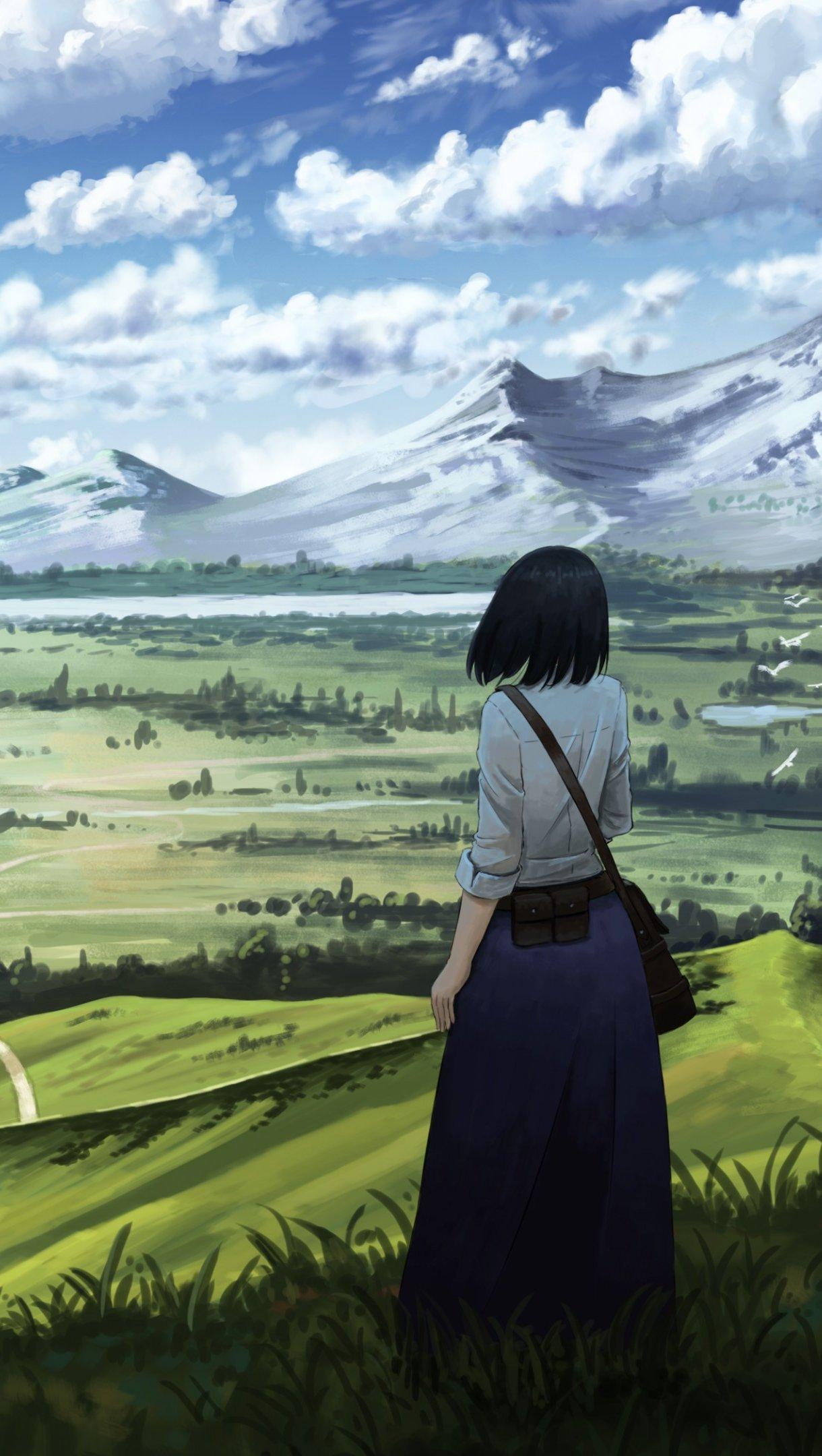 Fondos de pantalla Chica anime en paisaje Vertical