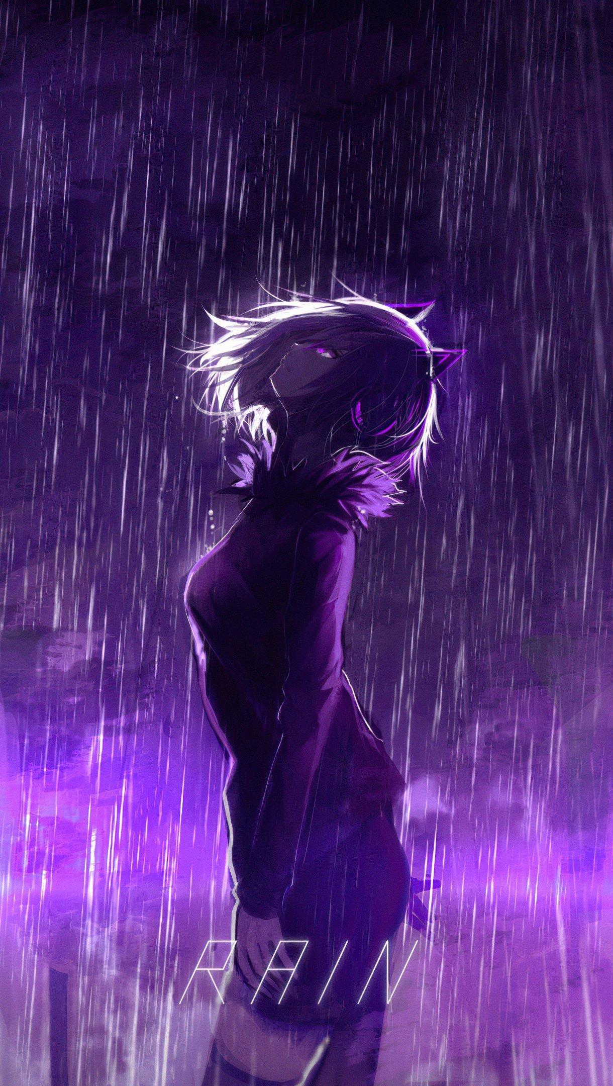 Fondos de pantalla Chica bajo lluvia morada Vertical