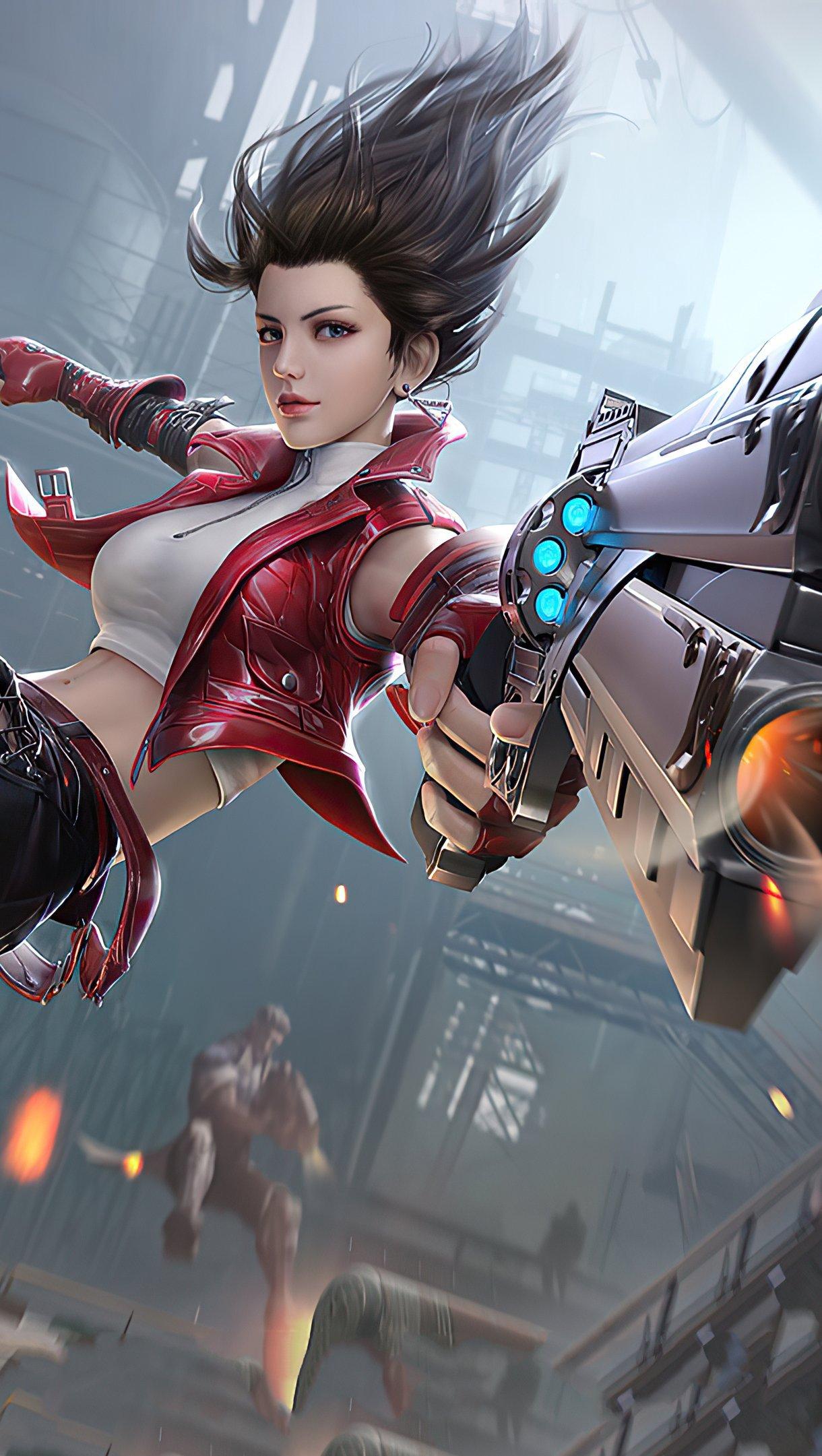 Fondos de pantalla Chica con arma de PUBG Vertical