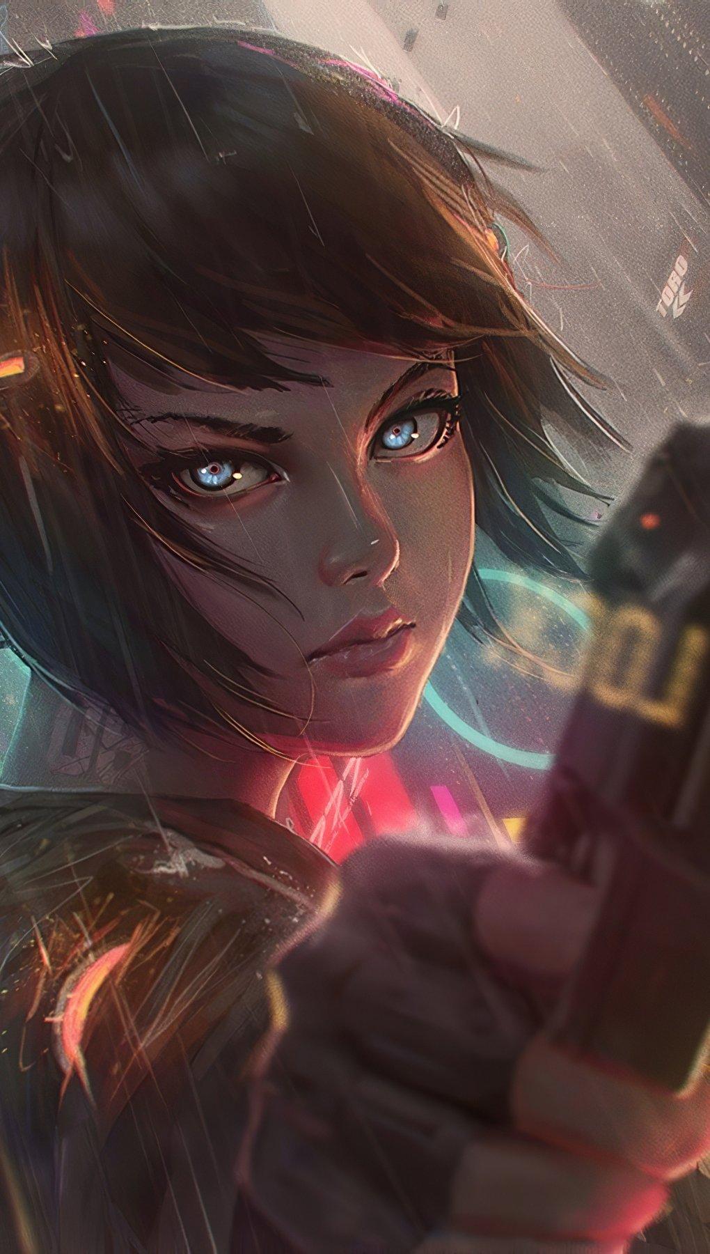Fondos de pantalla Chica con cabello corto lista para disparar estilo anime Vertical