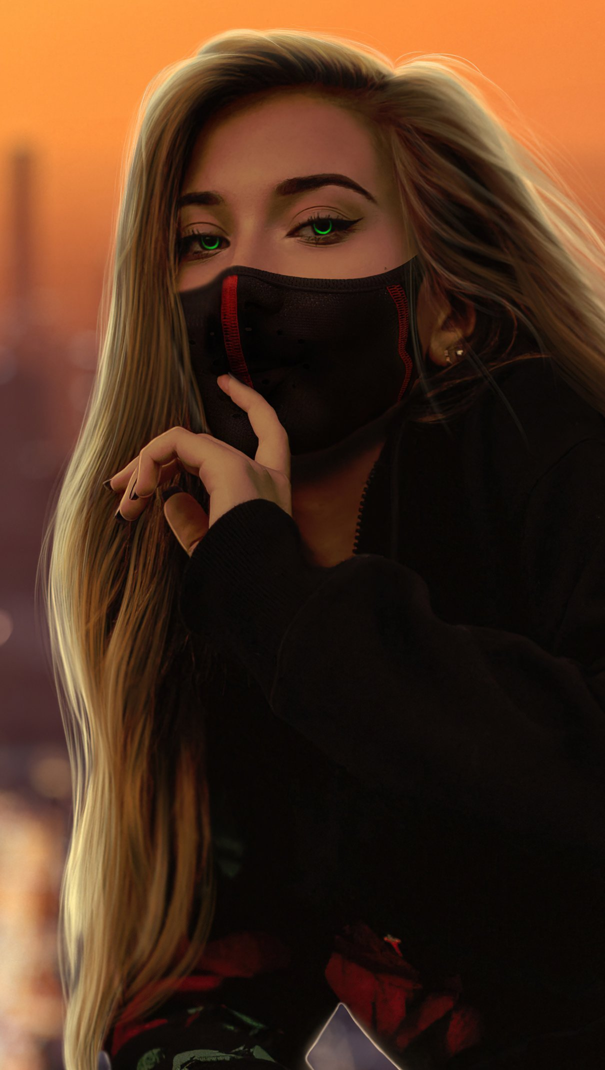 Girl With Mask In A City Wallpaper Id 5489