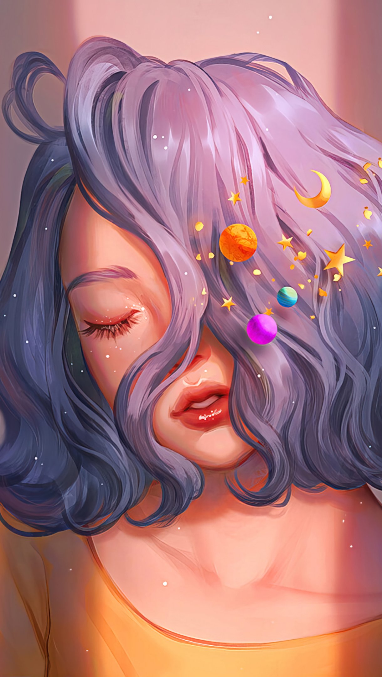 Wallpaper Girl with planets on blue hair Digital Art Vertical