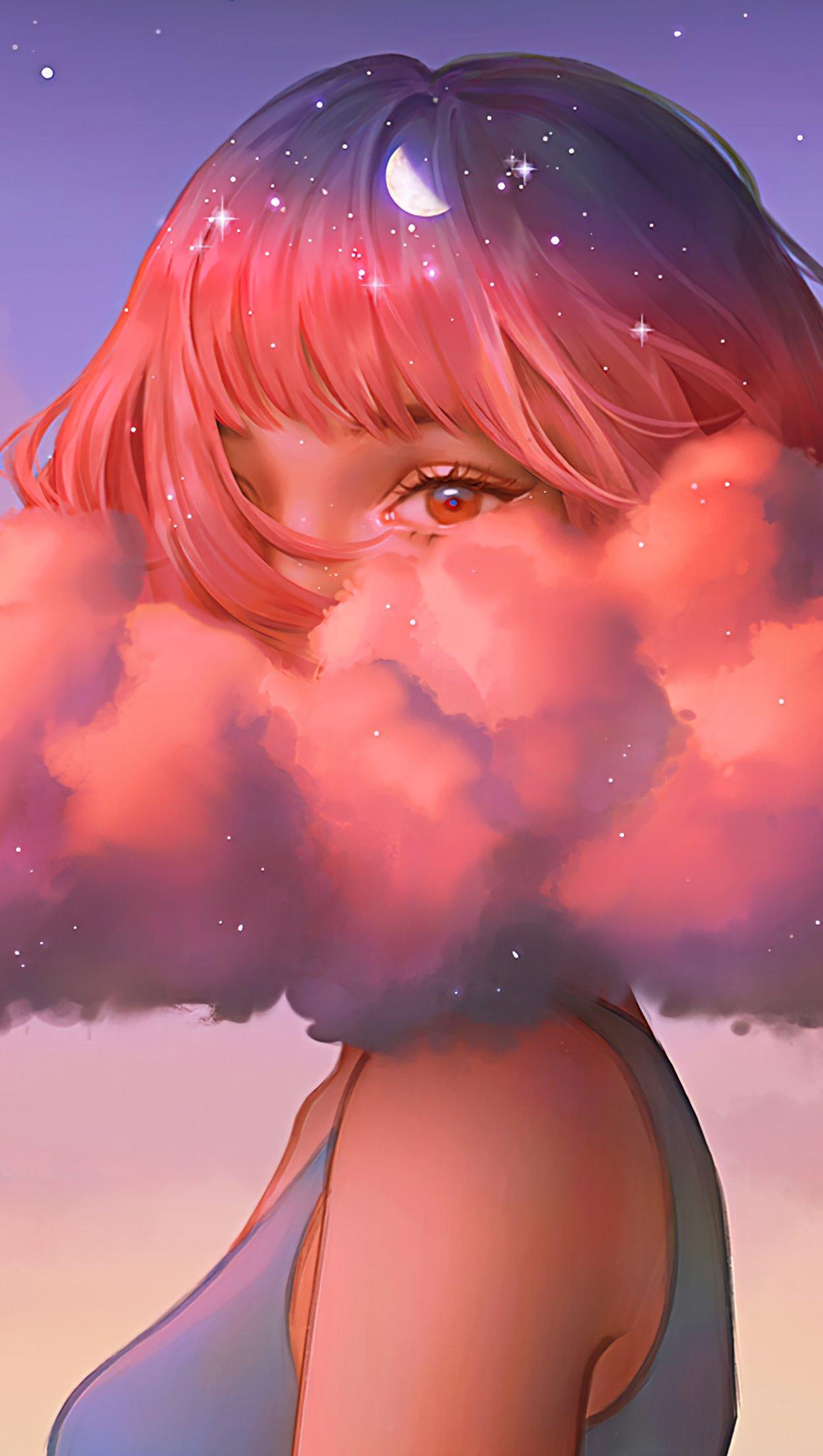Fondos de pantalla Chica cubierta de nubes Vertical