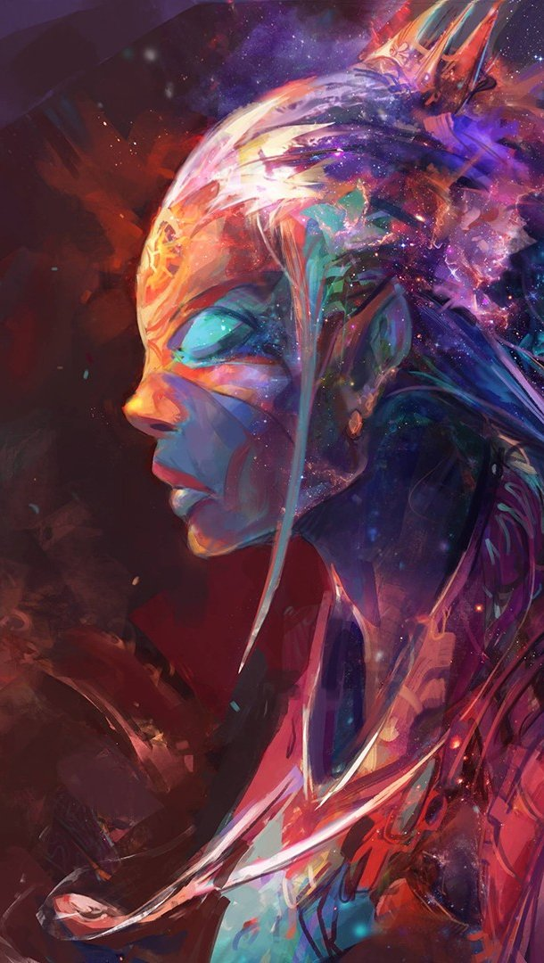 Fondos de pantalla Chica de colores Arte digital Vertical