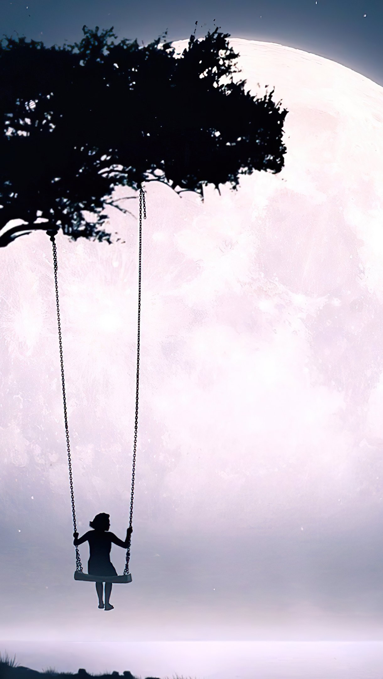 Wallpaper Girl on a swing looking at the moon Vertical