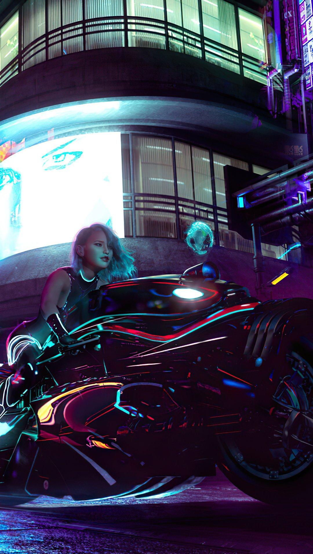 Wallpaper Cyberpunk Girl with bike Vertical