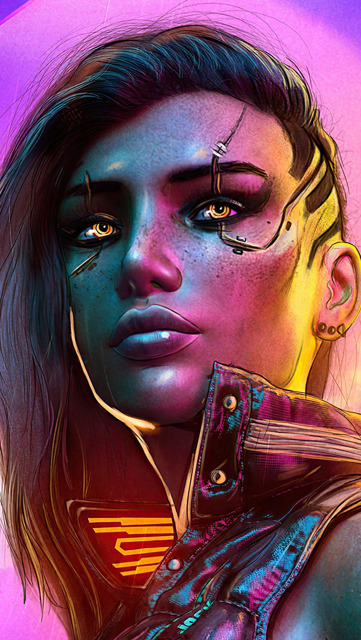 Fondos de pantalla Chica Estilo Cyberpunk 2077 Vertical