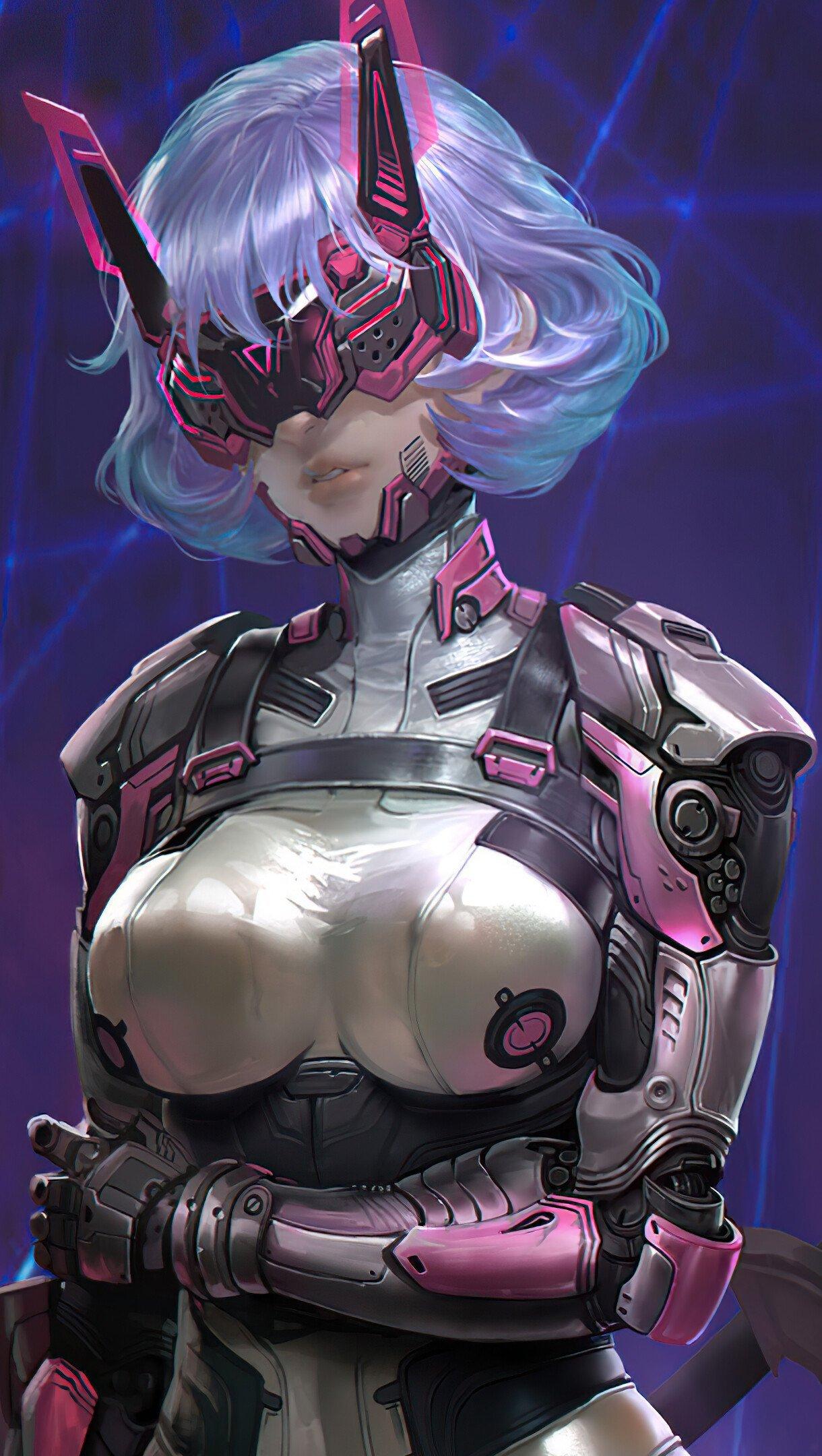 Fondos de pantalla Chica guerrera estilo cyberpunk Vertical