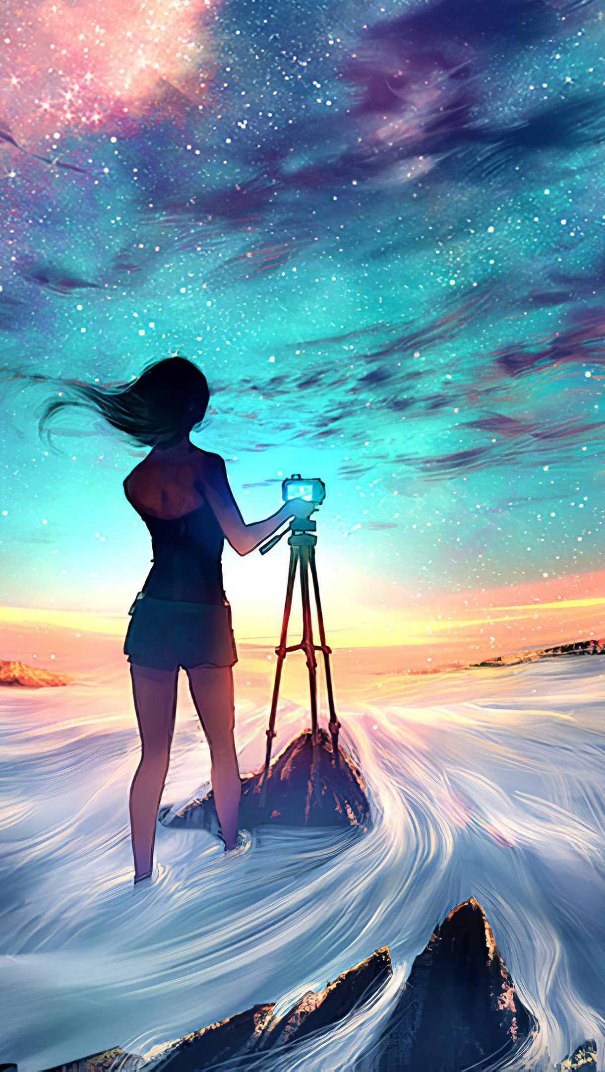 Wallpaper Girl taking a picture of the sky Vertical