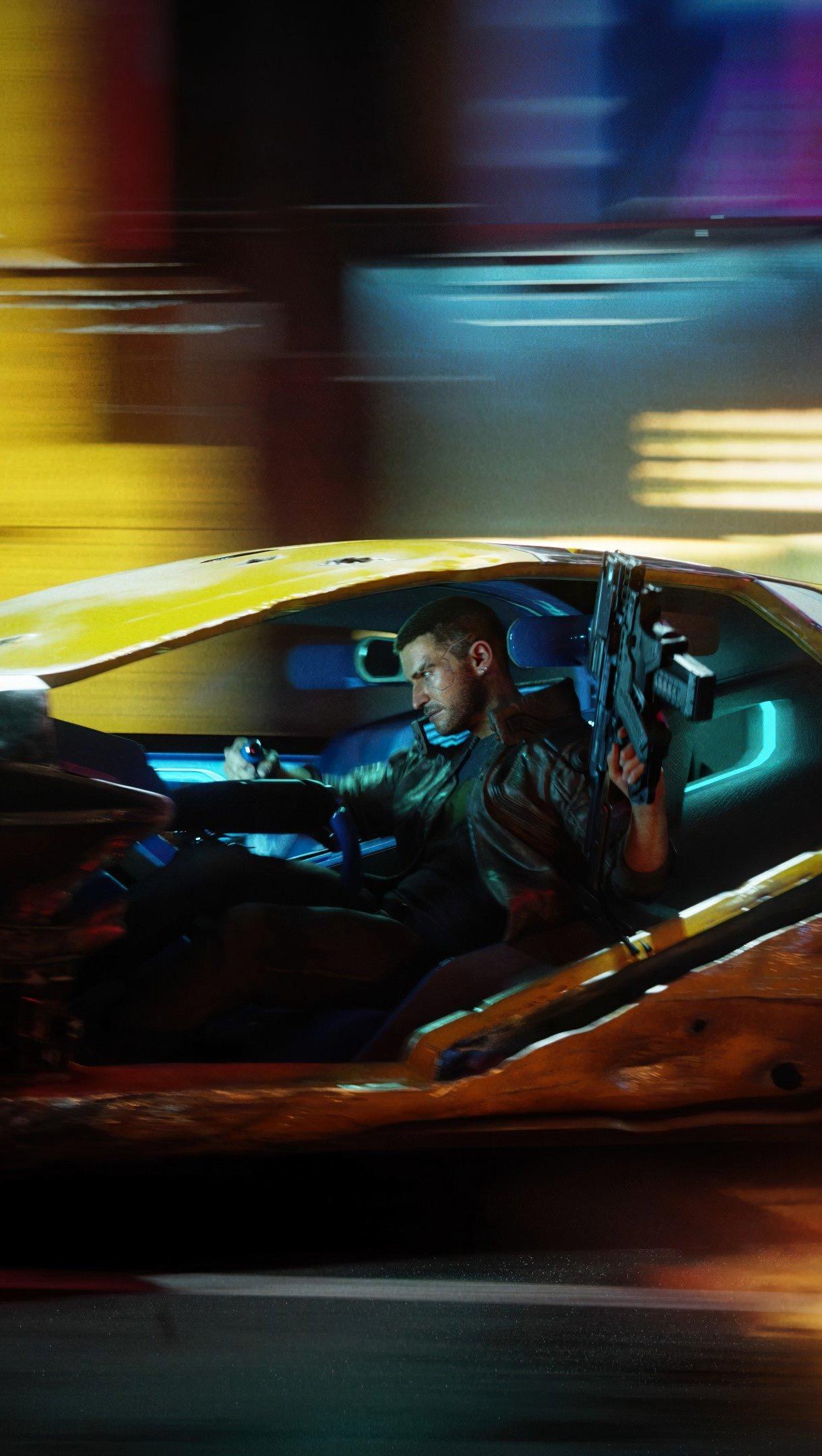 Wallpaper Guy driving with gun Cyberpunk 2077 Vertical