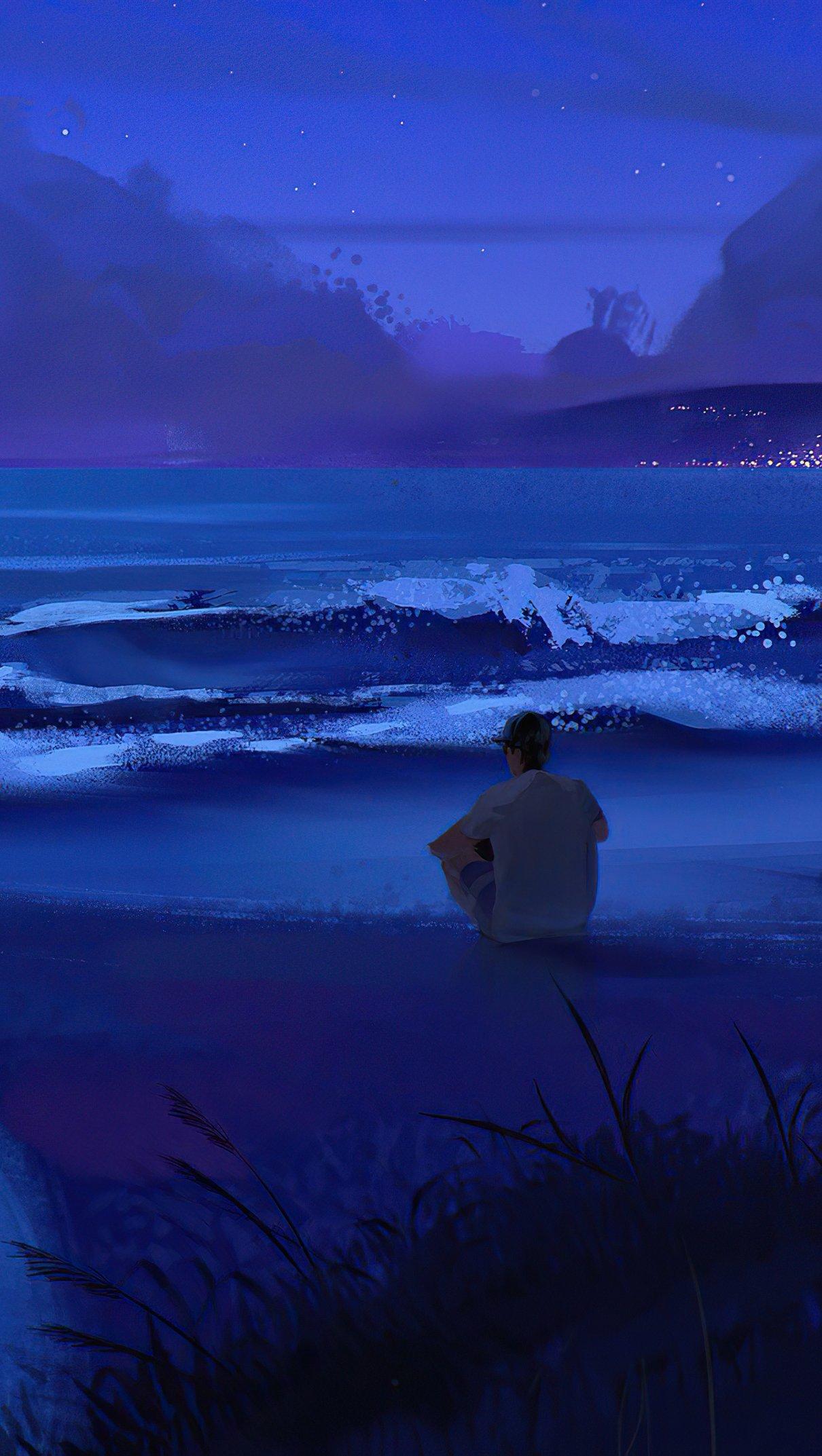Fondos de pantalla Chico mirando las olas Arte Digital Vertical