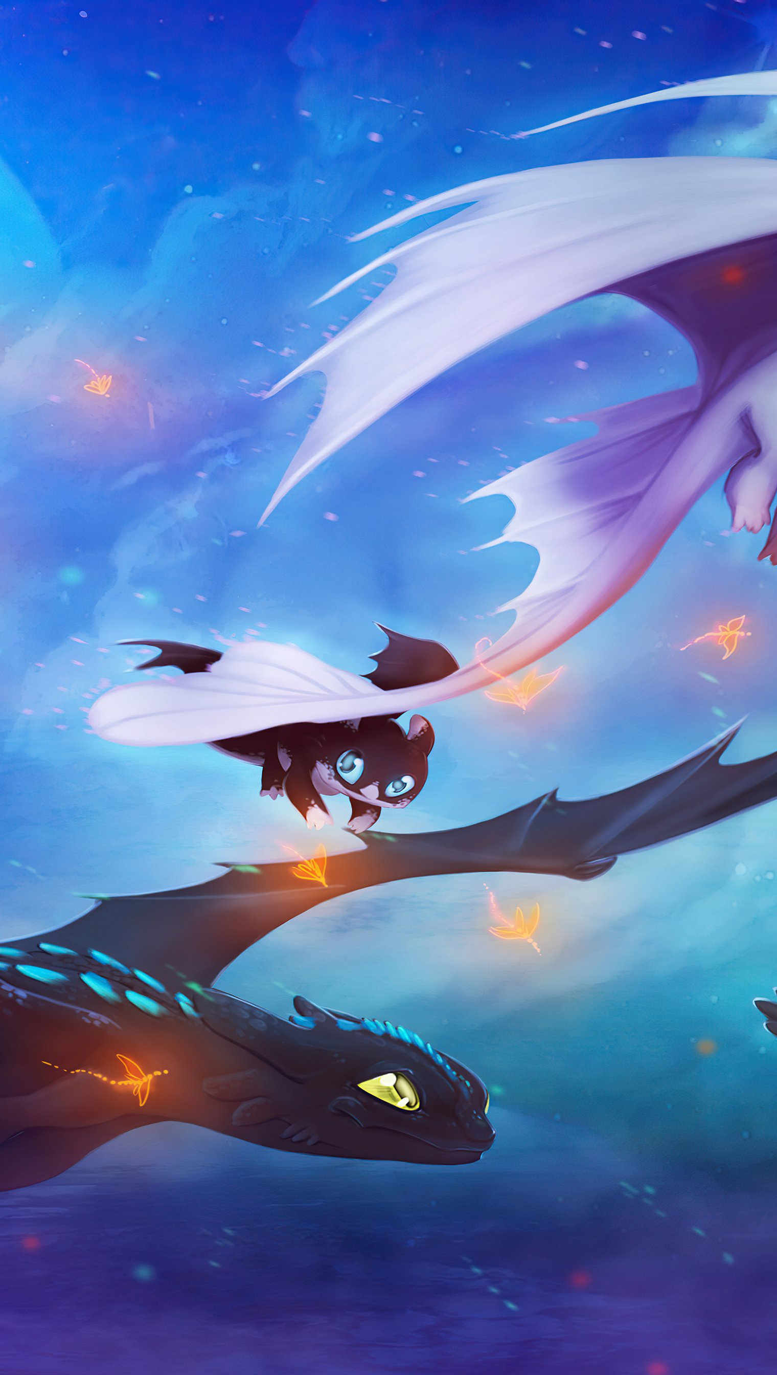 Wallpaper Toothless and his family Vertical