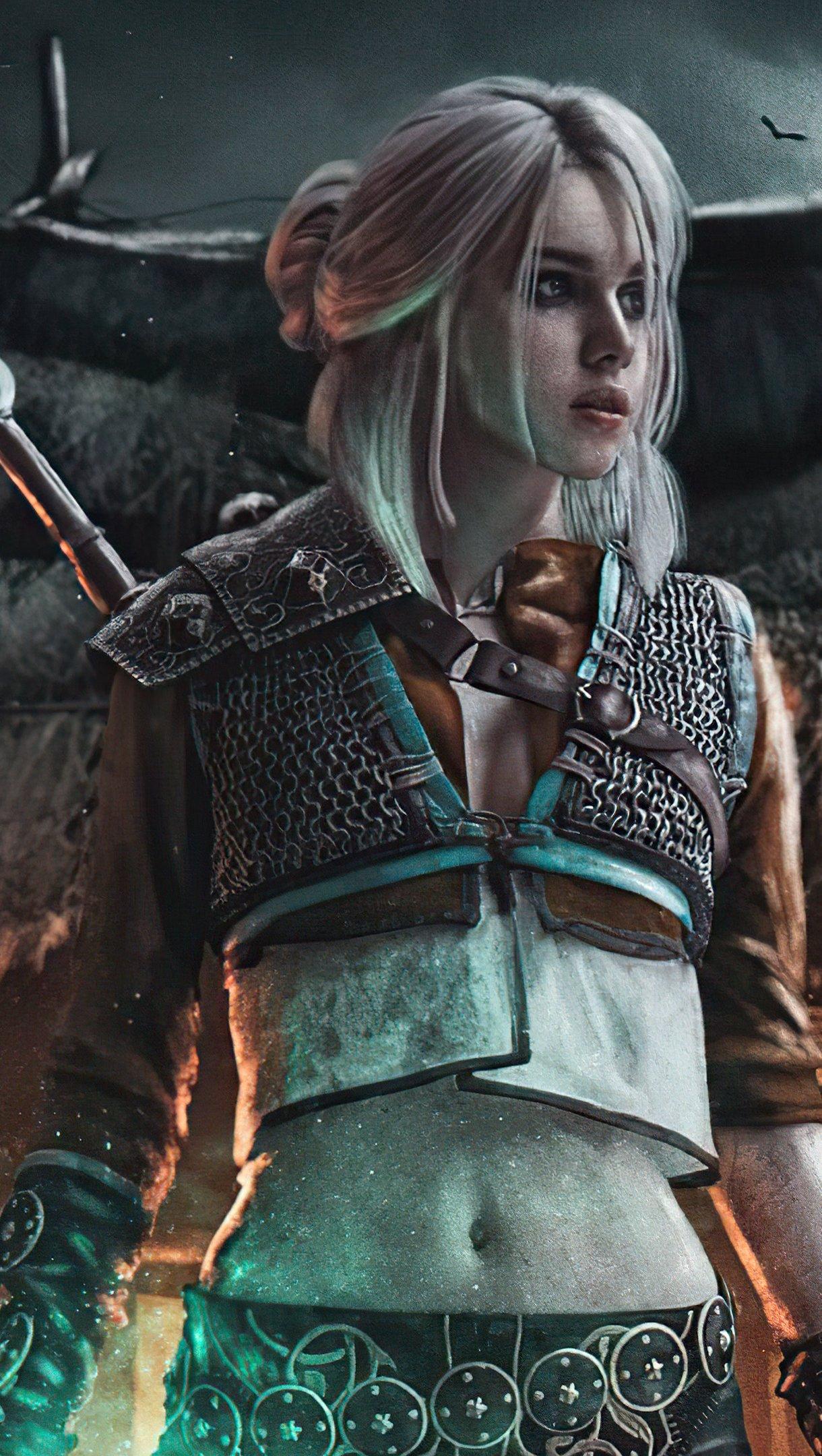 Fondos de pantalla Ciri de The Witcher 3 estilo Cyberpunk Vertical