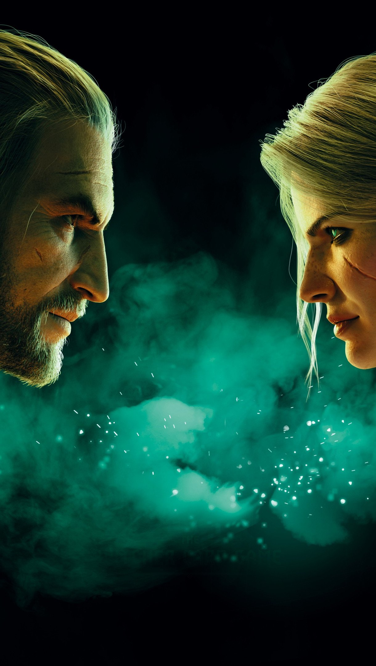 Wallpaper Ciri and Geralt from Gwent: The Witcher Card Game Vertical