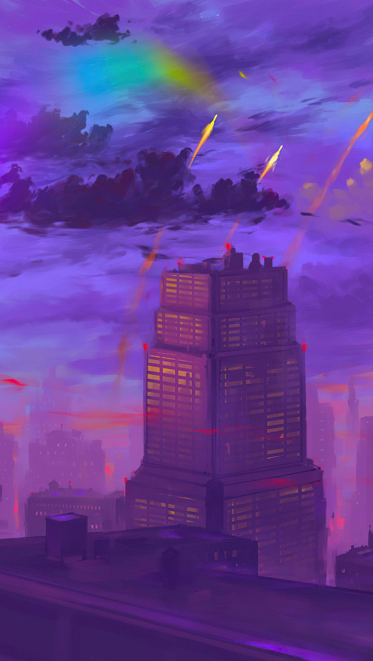 Wallpaper City Twilight Artwork Vertical