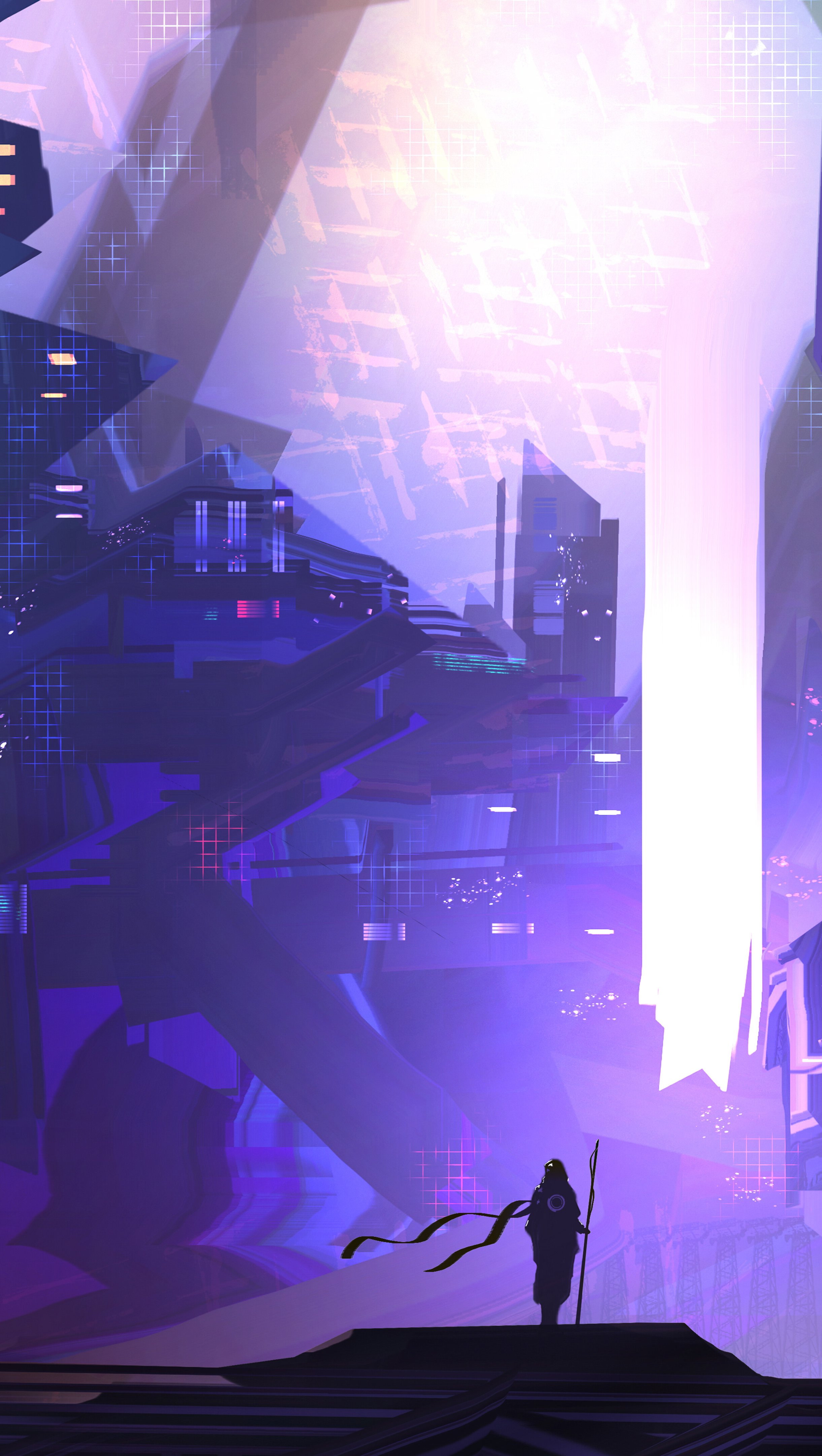 Wallpaper Science fiction city digital art Vertical