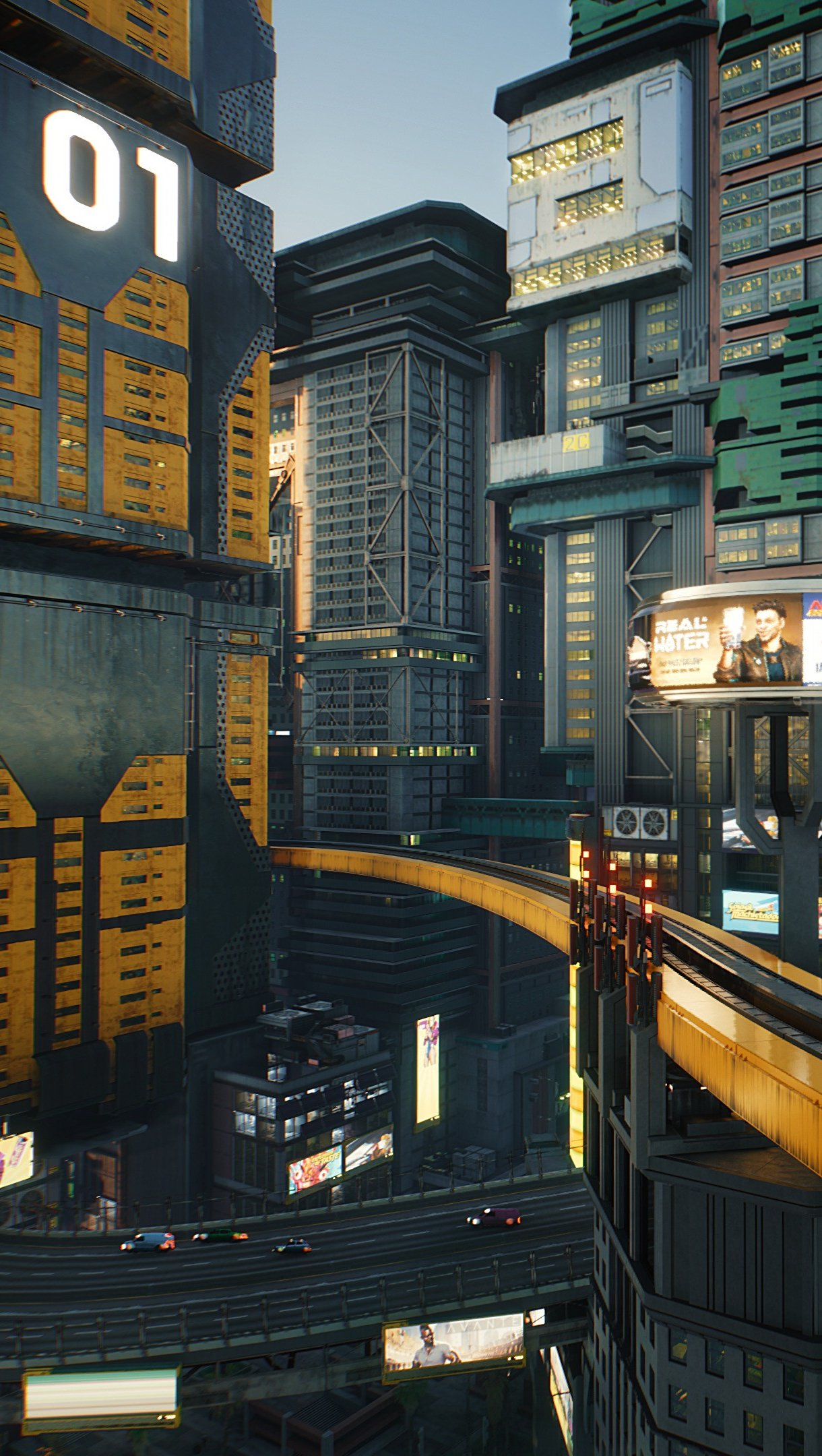 Wallpaper Cyberpunk 2077 City Buildings Vertical