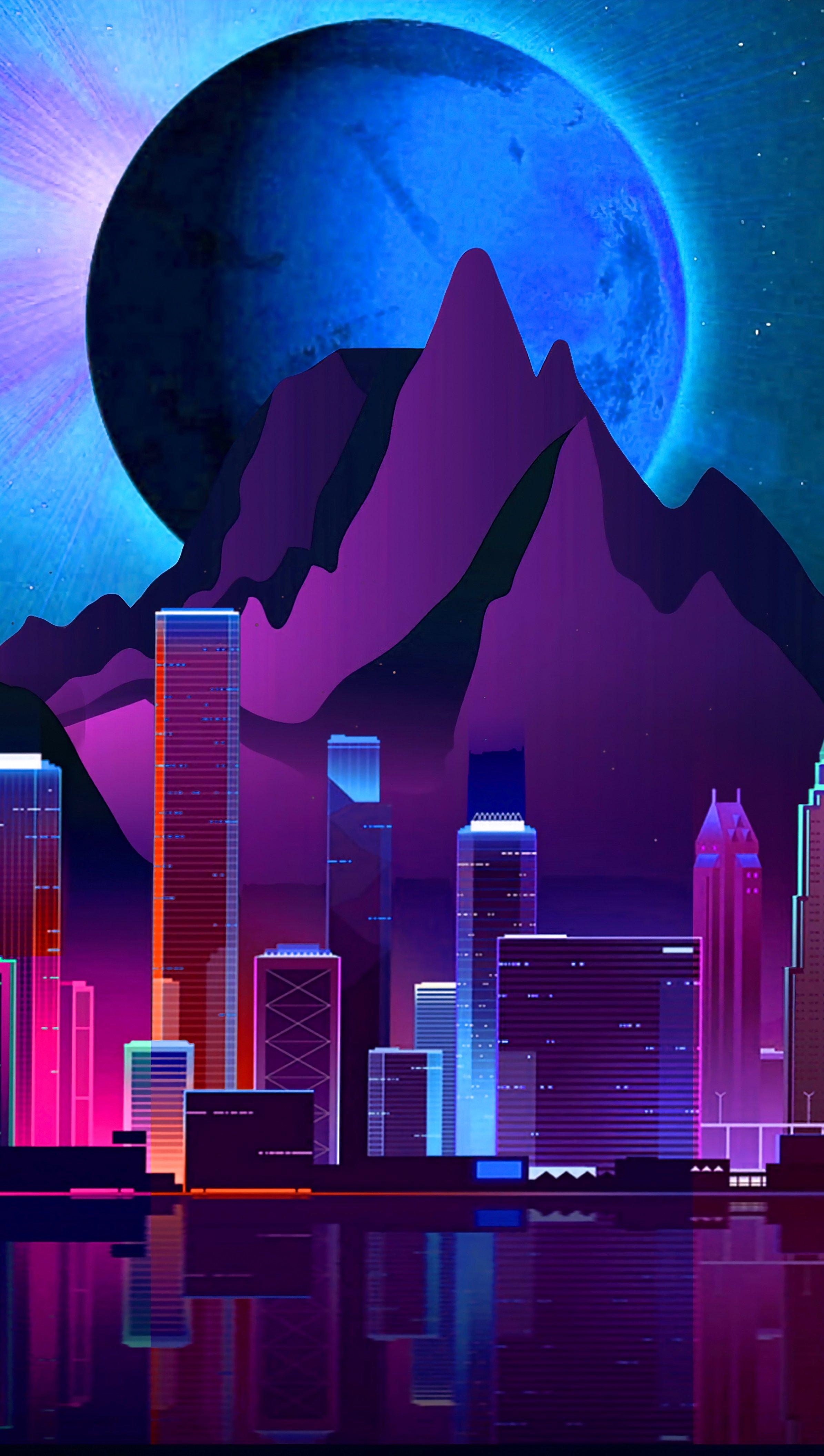 Fondos de pantalla Ciudad Futurista Estilo Retro Vertical