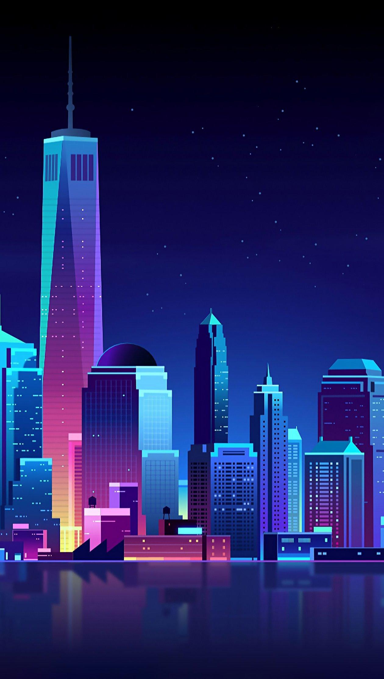 Fondos de pantalla Ciudad nocturna en arte neón Vertical