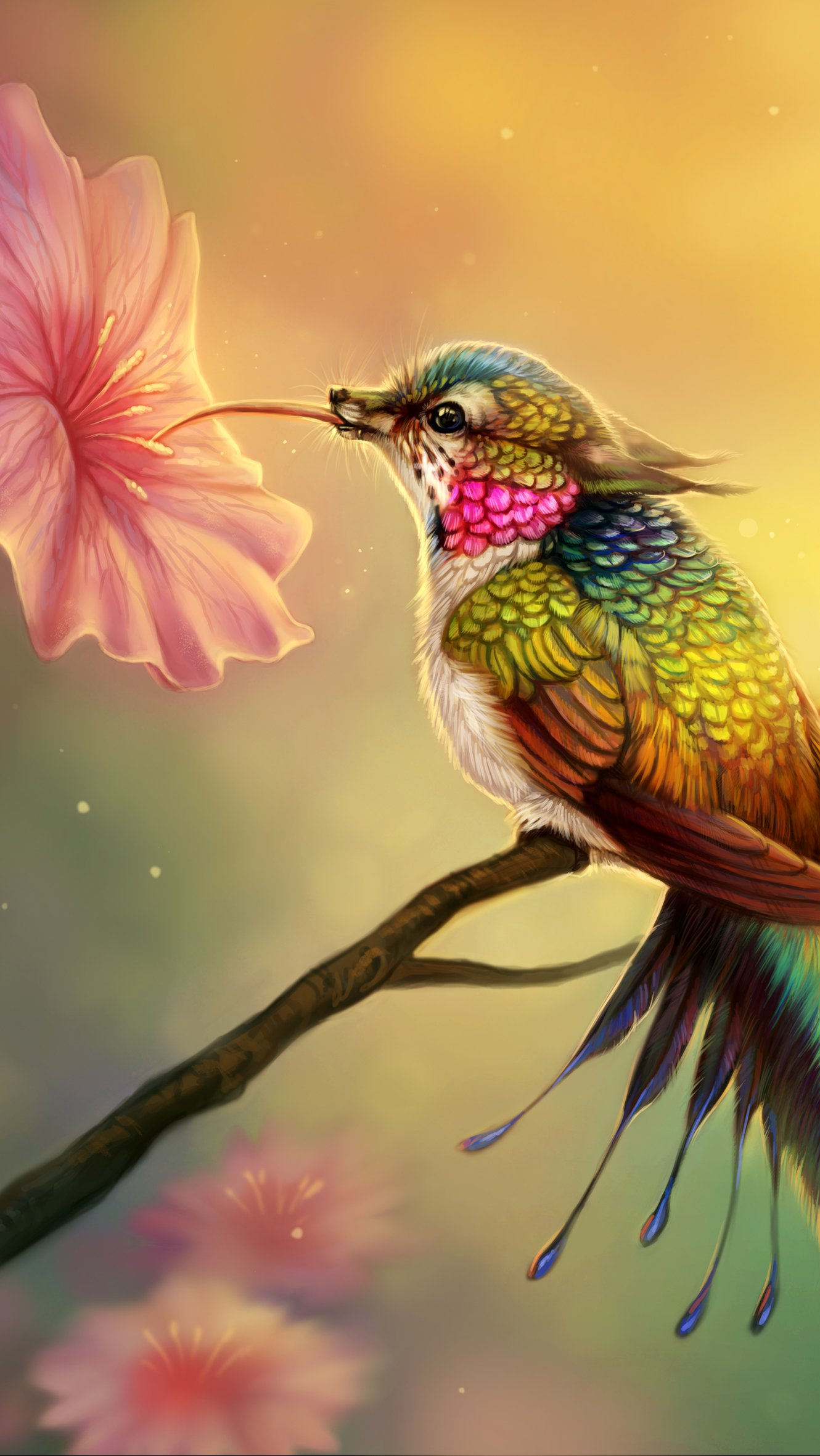 Wallpaper Fantasy Hummingbird Vertical
