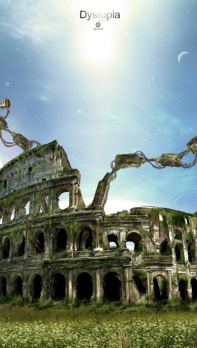Wallpaper Fantasy Roman Coliseum Vertical