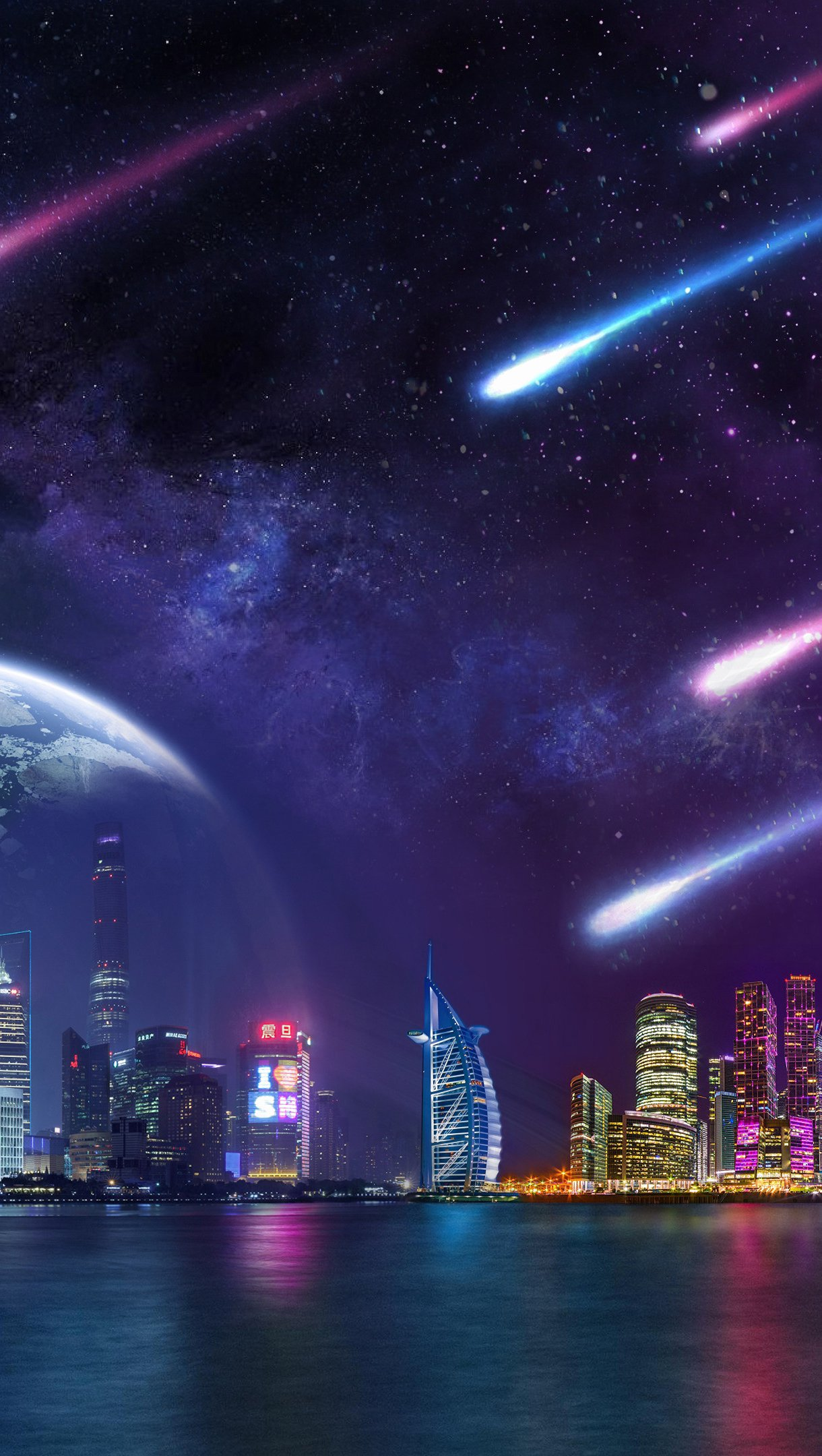 Wallpaper Comet and planets in digital Night city scenery Vertical