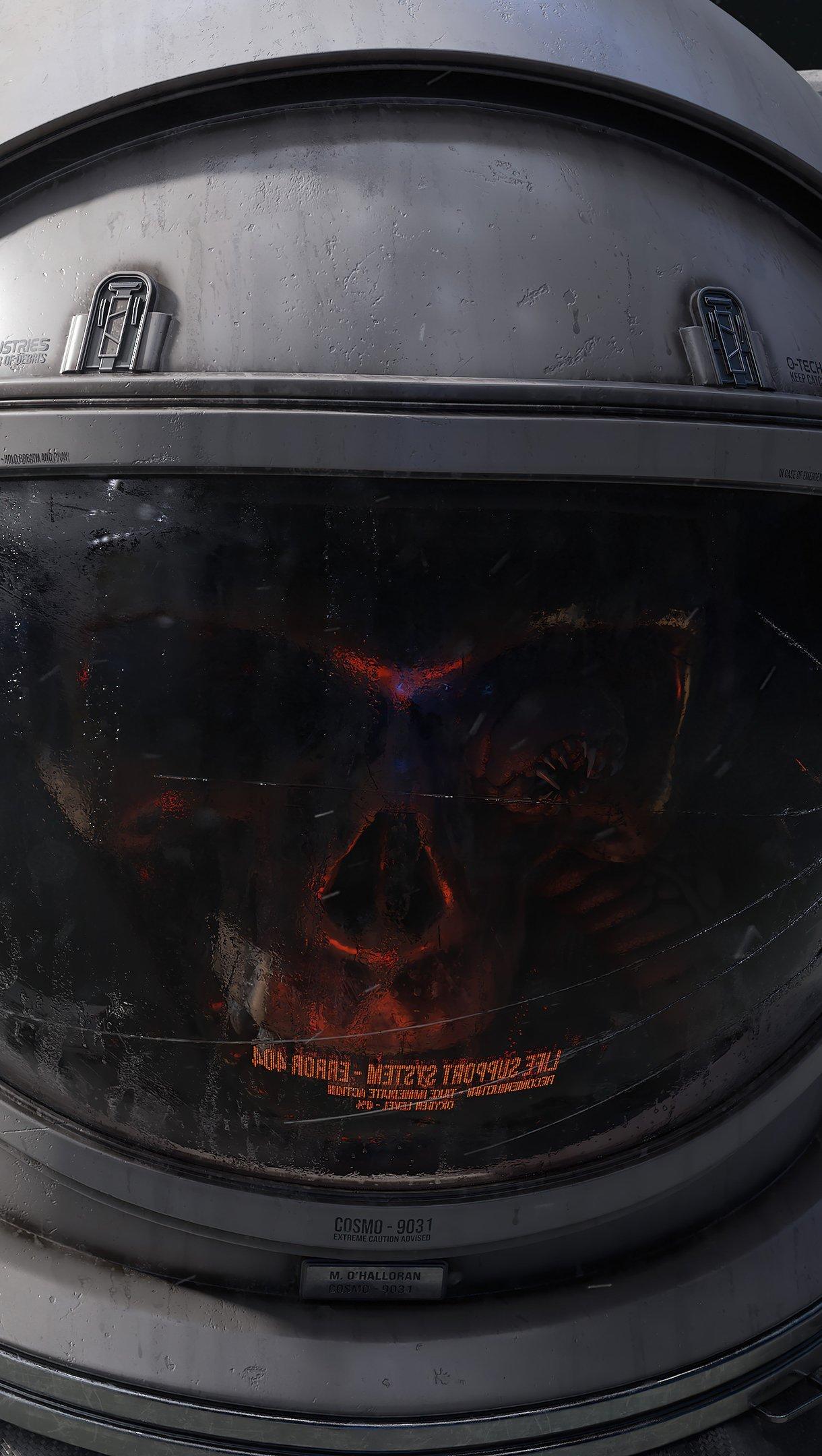 Fondos de pantalla Cráneo en traje de astronauta Vertical