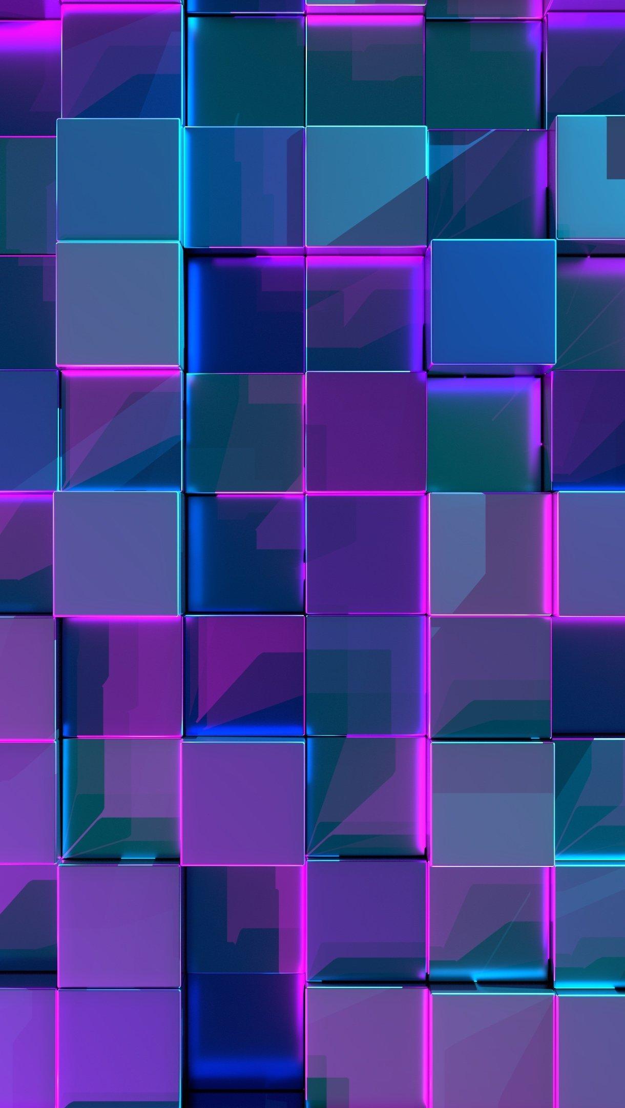 Fondos de pantalla Cubos 3d neón Vertical