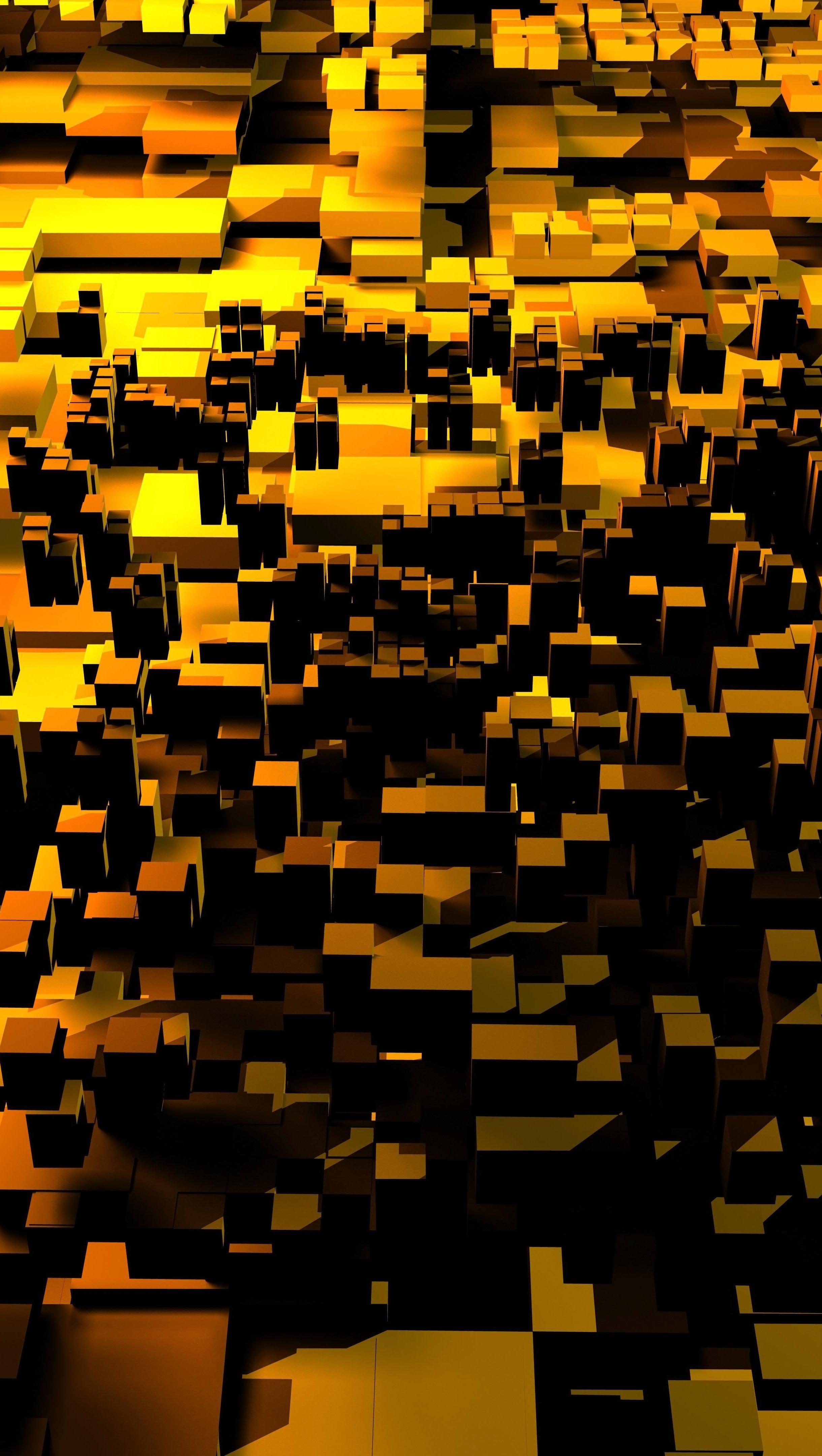 Fondos de pantalla Cubos abstractos dorados 3D Vertical