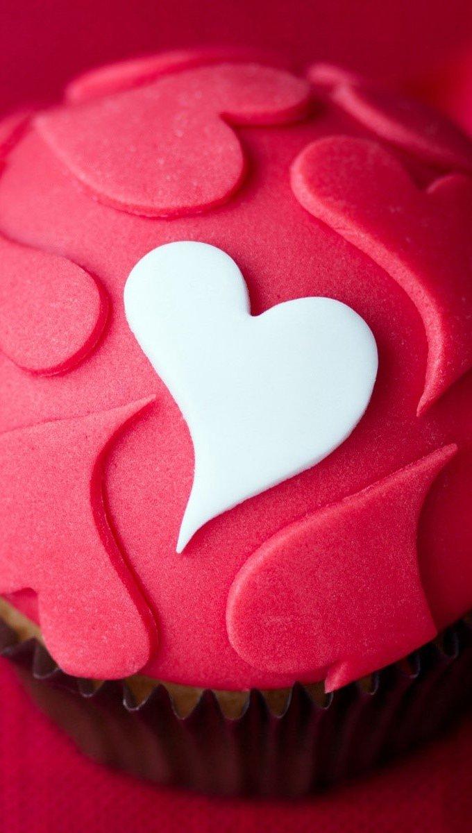 Wallpaper Cupcake of hearts Vertical