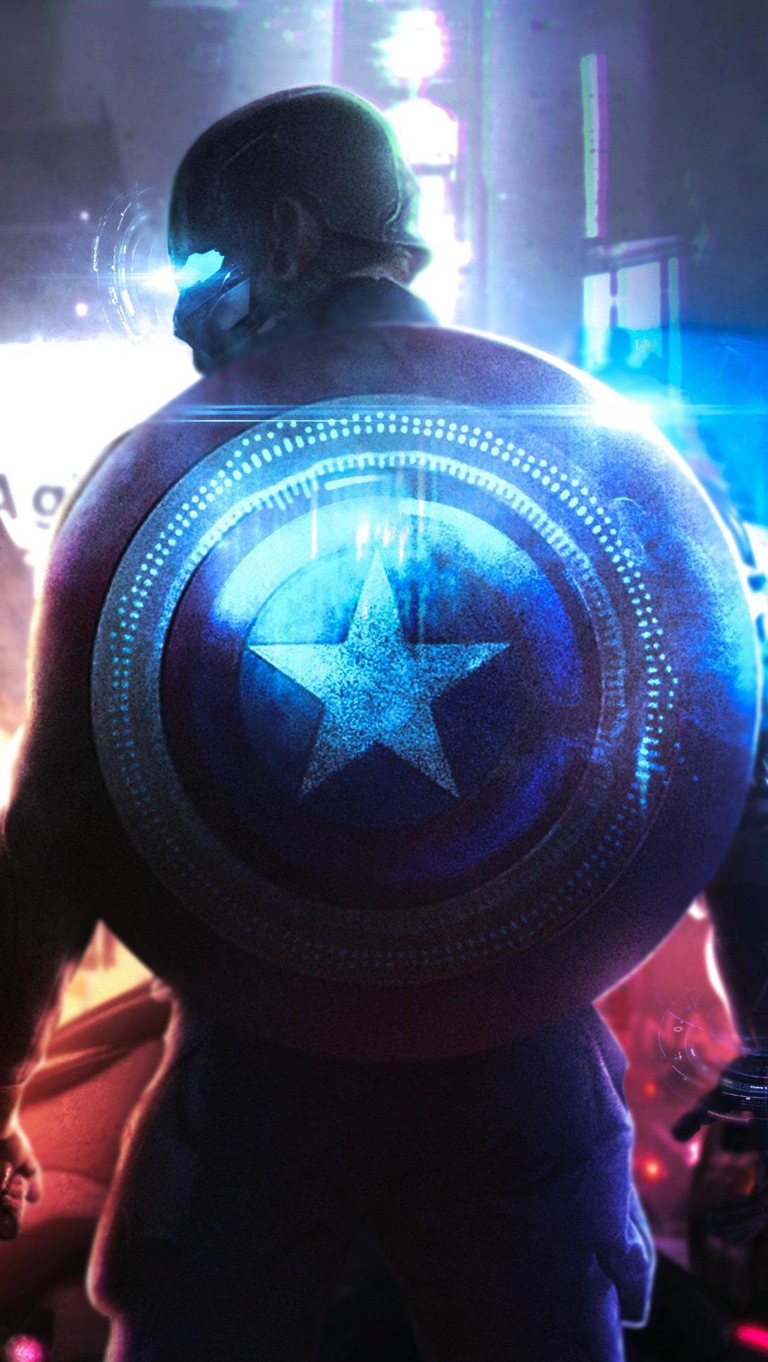 Fondos de pantalla Cyberpunk Capitán América Fanart Vertical