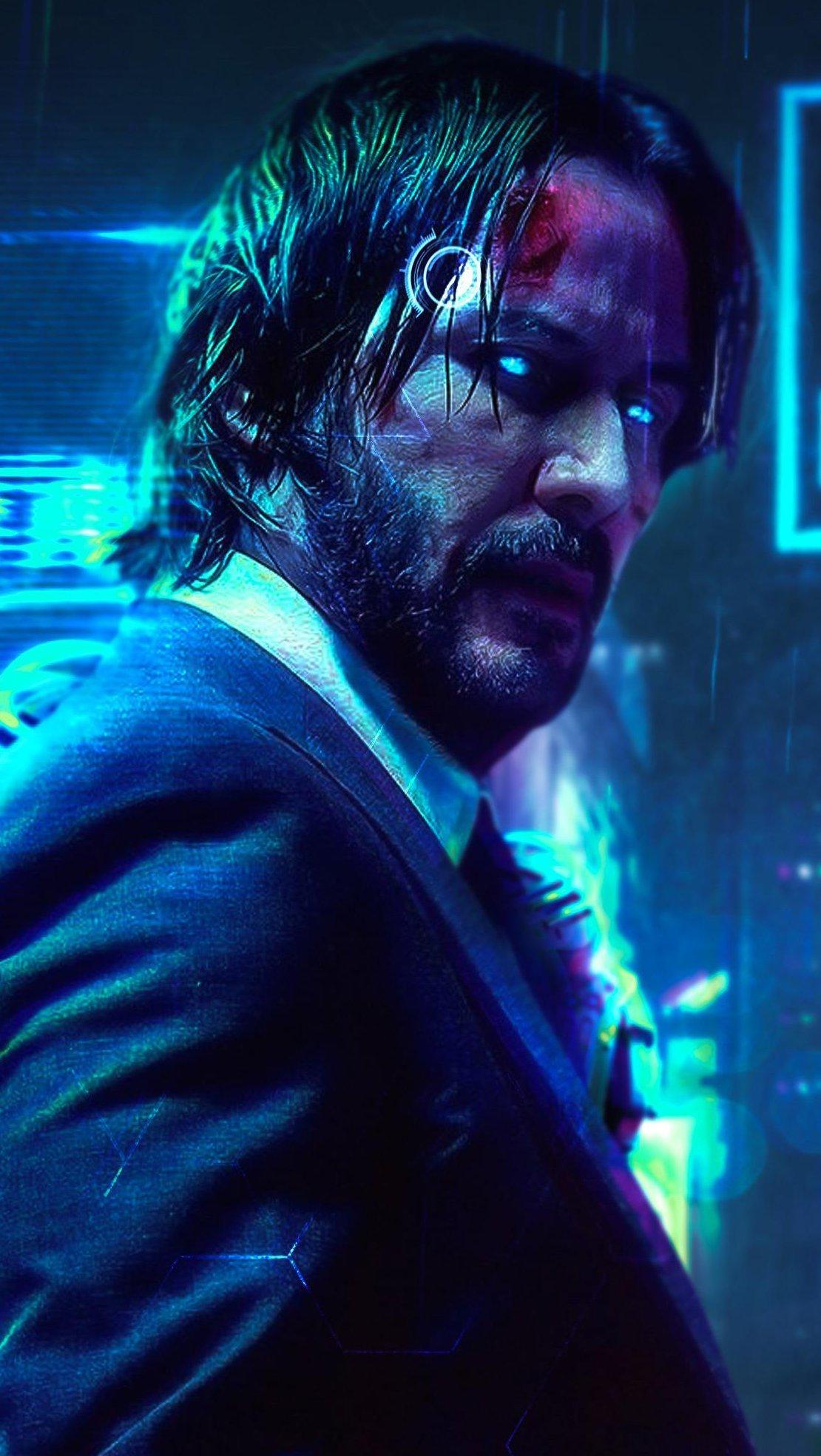 Wallpaper Cyberpunk John Wick Keanu Reeves FanArt Vertical