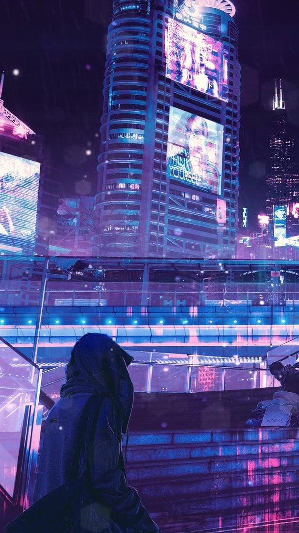 Fondos de pantalla Cyberpunk Neón Ciudad Vertical