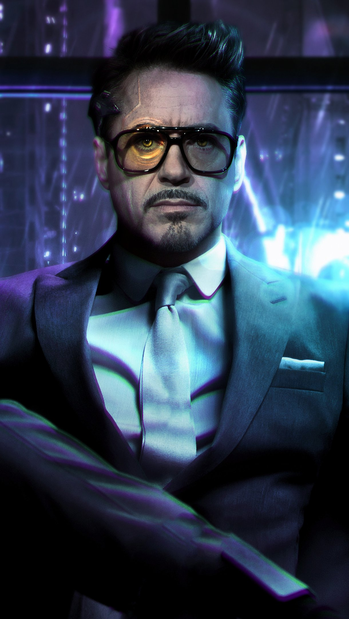 Wallpaper Cyberpunk Tony Stark Fanart Vertical