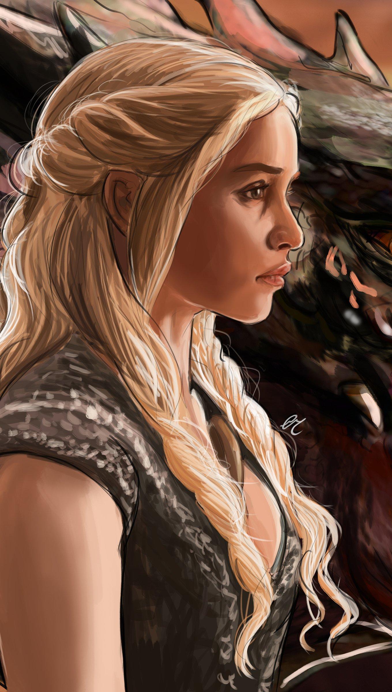 Fondos de pantalla Daenerys Targaryen con dragón Fanart Vertical