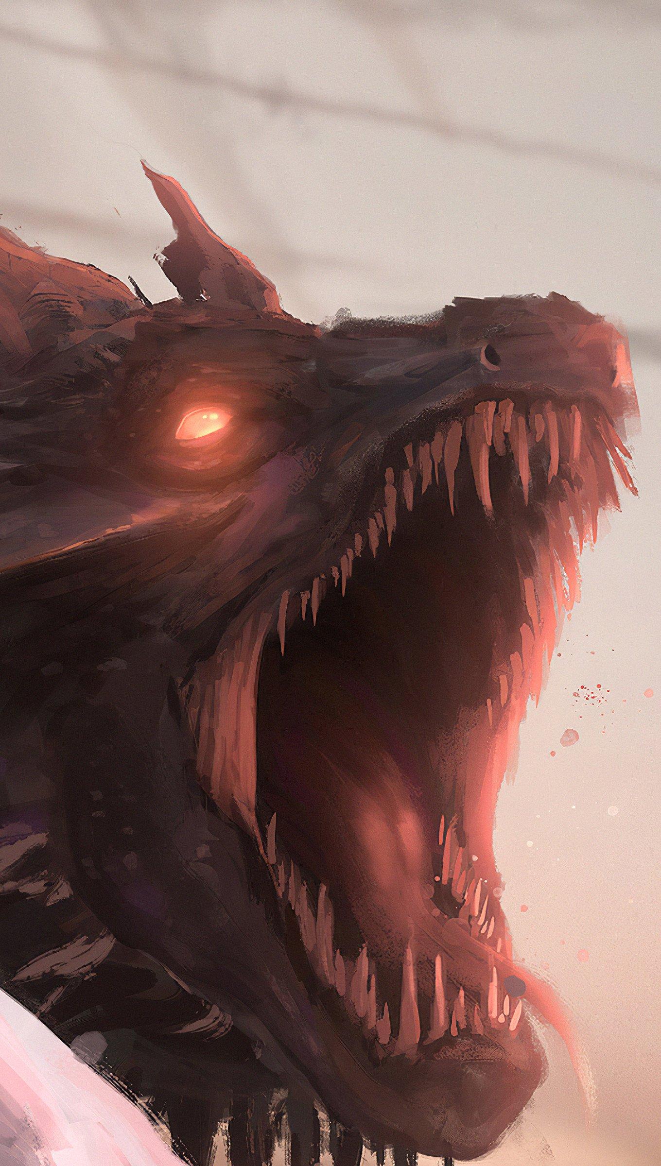 Wallpaper Daenerys Targaryen with dragon Fanart Vertical