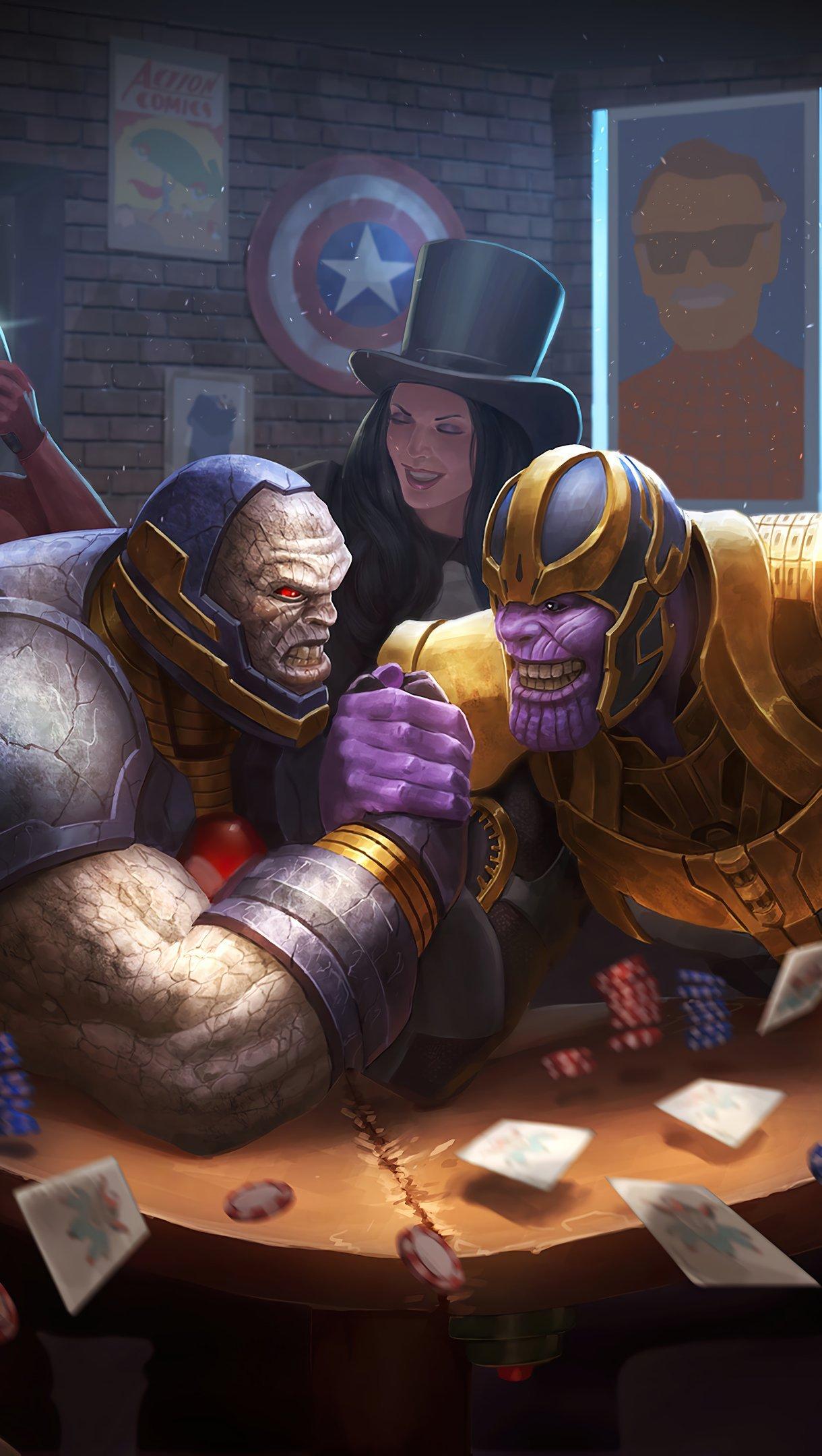 Wallpaper Darksaid vs Thanos in bar Vertical