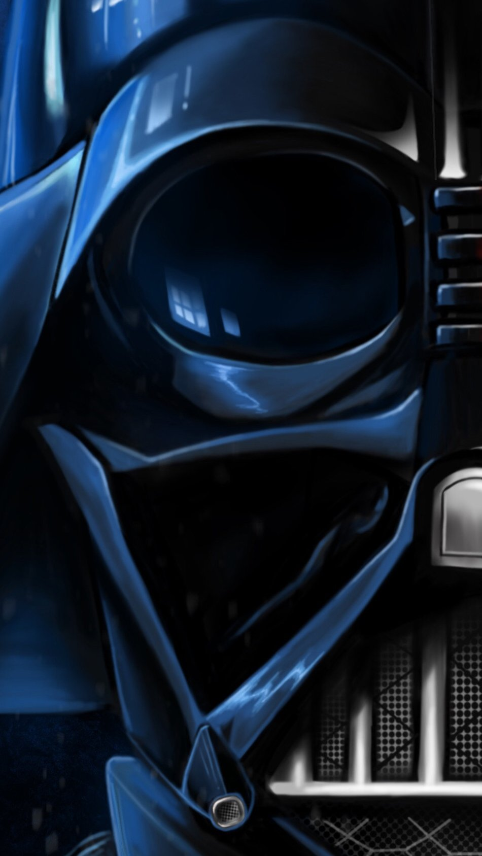 Wallpaper Darth Vader with blue and red lights Vertical