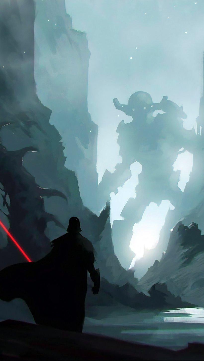 Fondos de pantalla Darth Vader con Sable de Luz Vertical